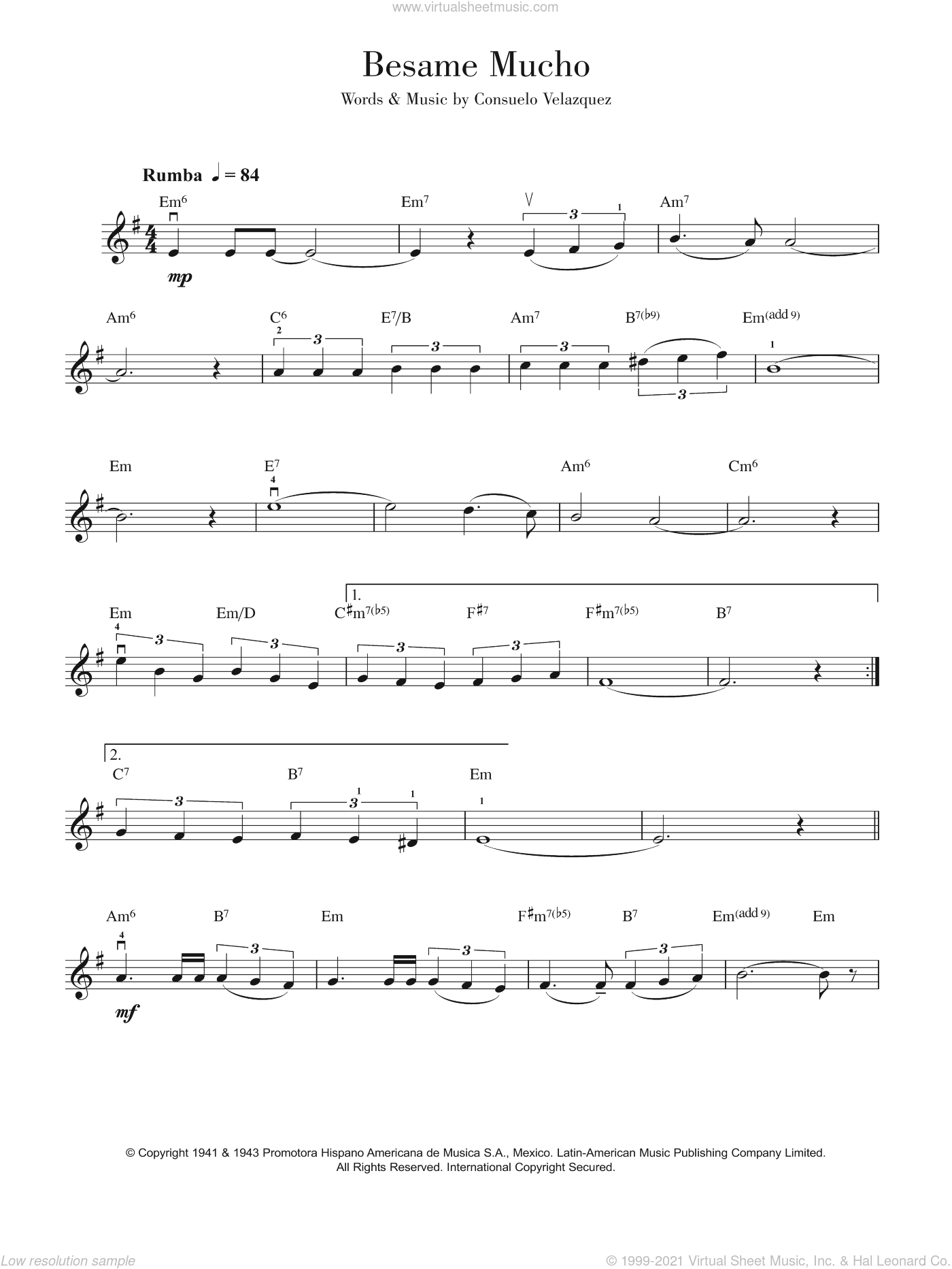 Besame Mucho (Kiss Me Much) sheet music for violin solo by Sunny Skylar, Diana Krall and Consuelo Velazquez. Score Image Preview.