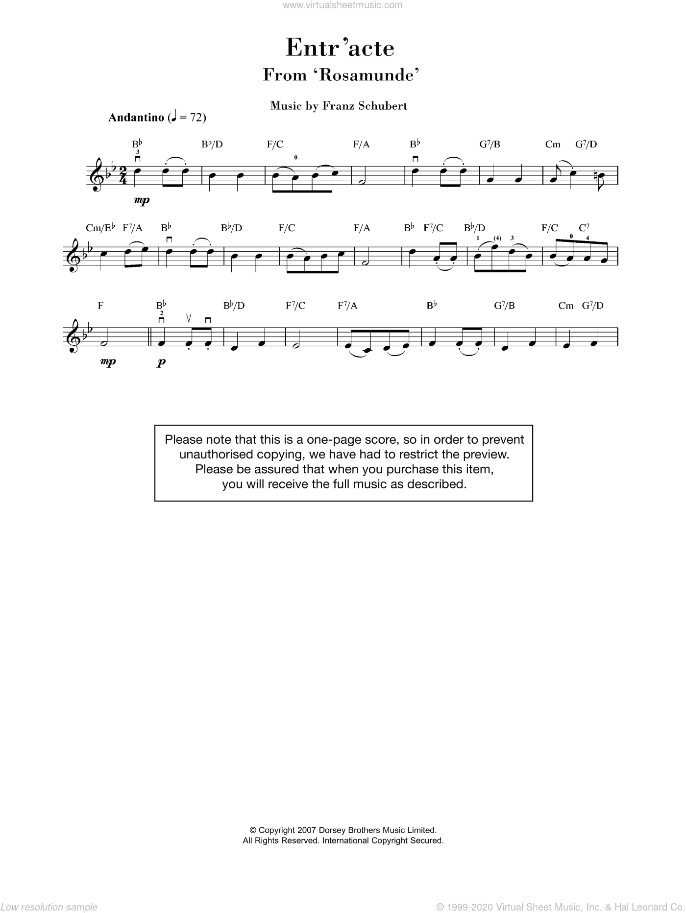 Rosamunde Entr'acte sheet music for violin solo by Franz Schubert, classical score, intermediate violin. Score Image Preview.