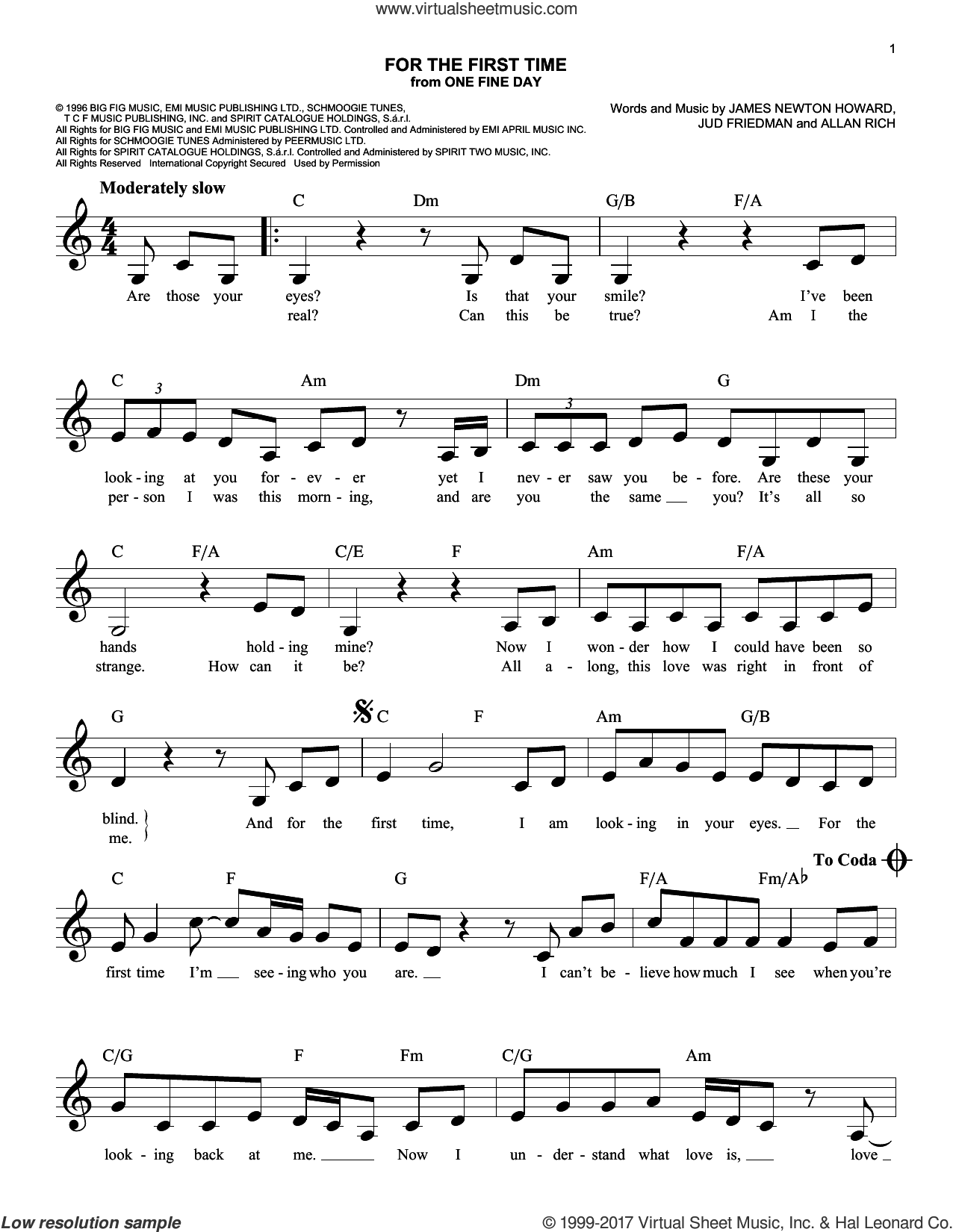 For The First Time sheet music for voice and other instruments (fake book) by Kenny Loggins, Rod Stewart, Allan Rich, James Newton Howard and Jud Friedman, intermediate skill level
