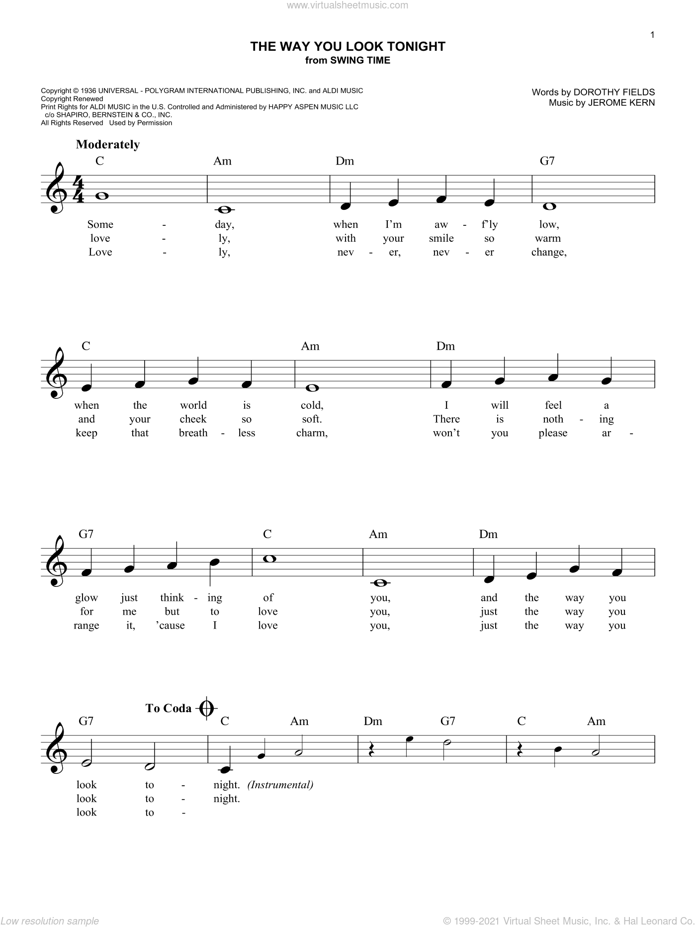 The Way You Look Tonight sheet music for voice and other instruments (fake book) by Jerome Kern and Dorothy Fields, wedding score, intermediate skill level