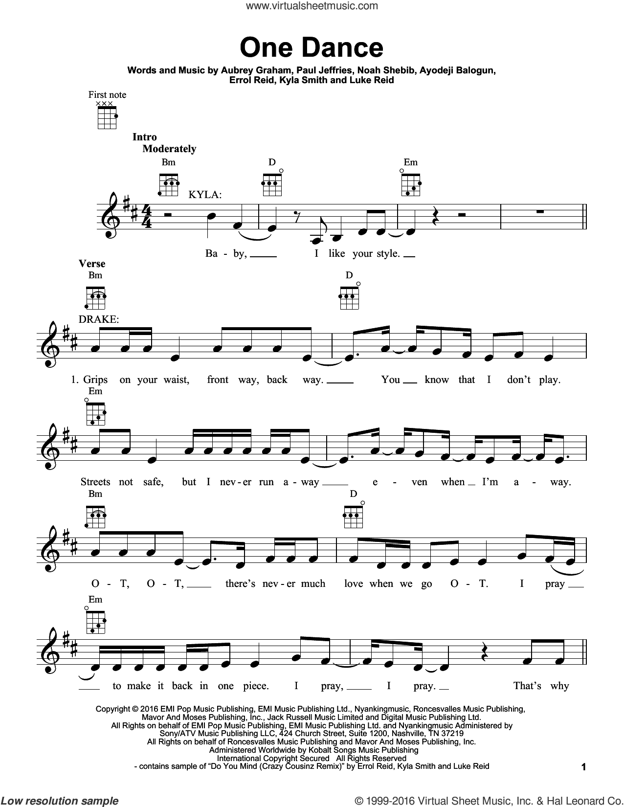 One Dance sheet music for ukulele by Drake, intermediate. Score Image Preview.