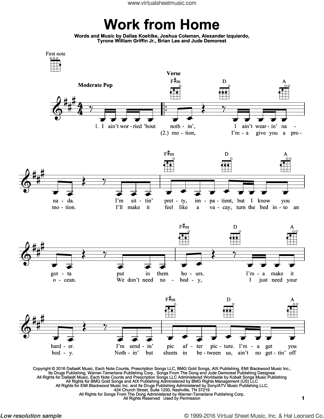 Work From Home sheet music for ukulele by Fifth Harmony feat. Ty Dolla $ign, Alexander Izquierdo, Brian Lee and Jude Demorest. Score Image Preview.