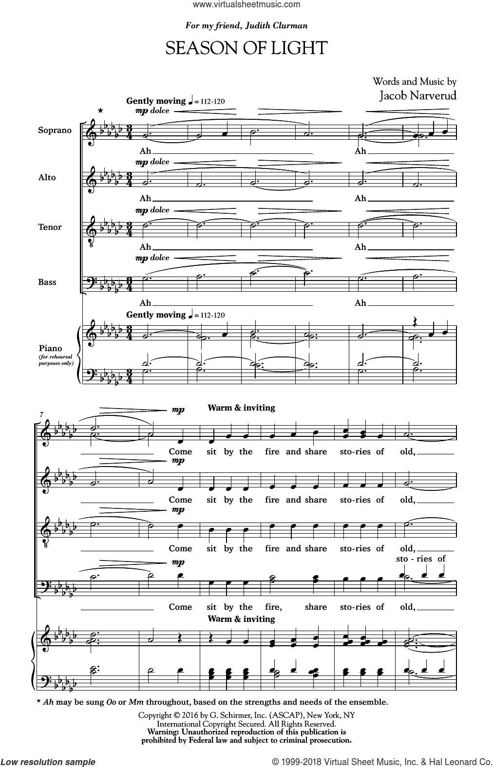 Season Of Light sheet music for choir and piano (SATB) by Jacob Narverud