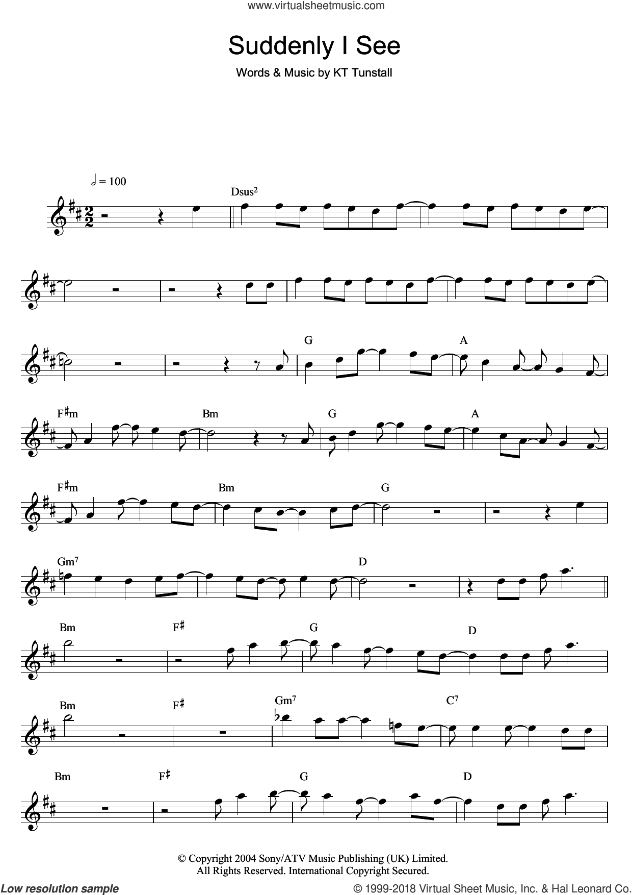 Suddenly I See sheet music for flute solo by KT Tunstall, intermediate. Score Image Preview.