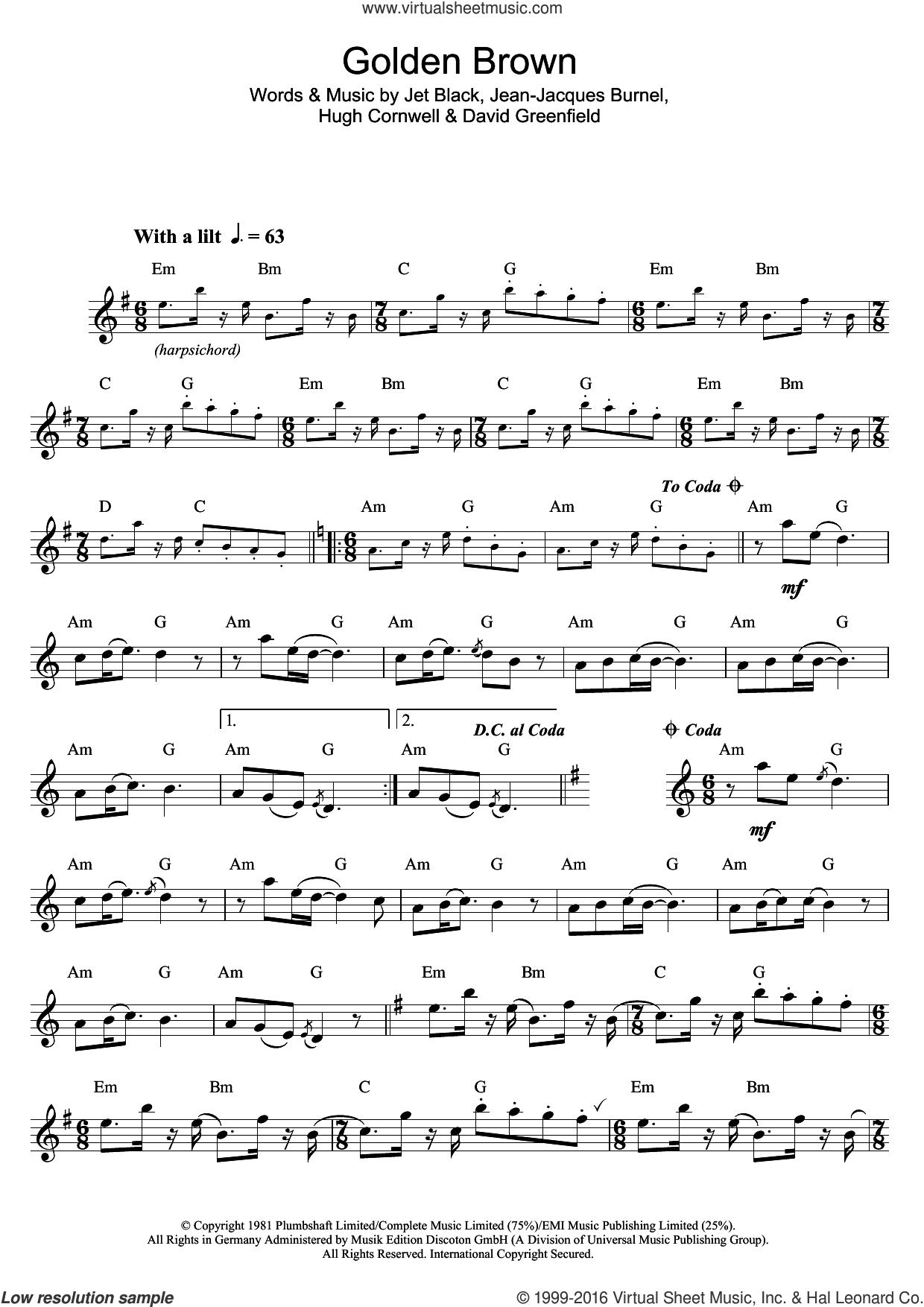 Golden Brown sheet music for saxophone solo by The Stranglers, David Greenfield, Hugh Cornwell, Jean-Jacques Burnel and Jet Black, intermediate skill level