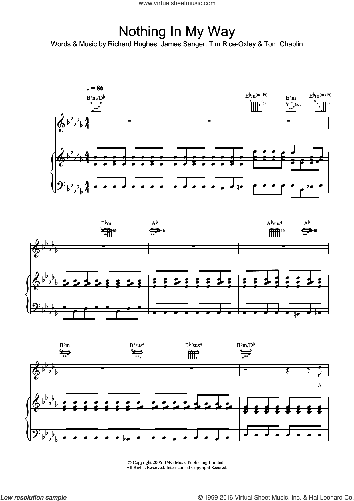 Nothing In My Way sheet music for violin solo by Tim Rice-Oxley, James Sanger, Richard Hughes and Tom Chaplin, intermediate skill level