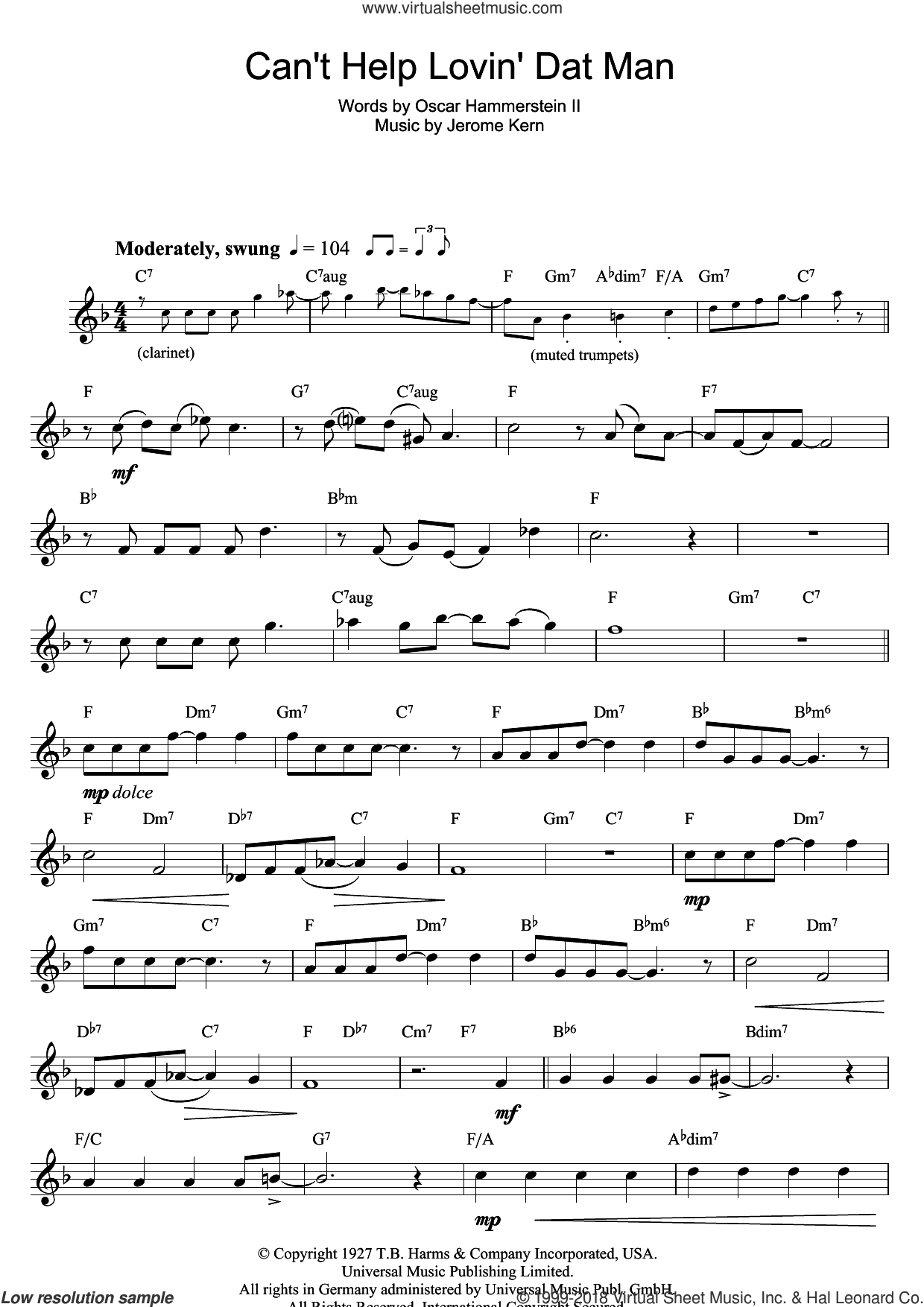 Can't Help Lovin' Dat Man sheet music for flute solo by Jerome Kern and Oscar II Hammerstein, intermediate skill level