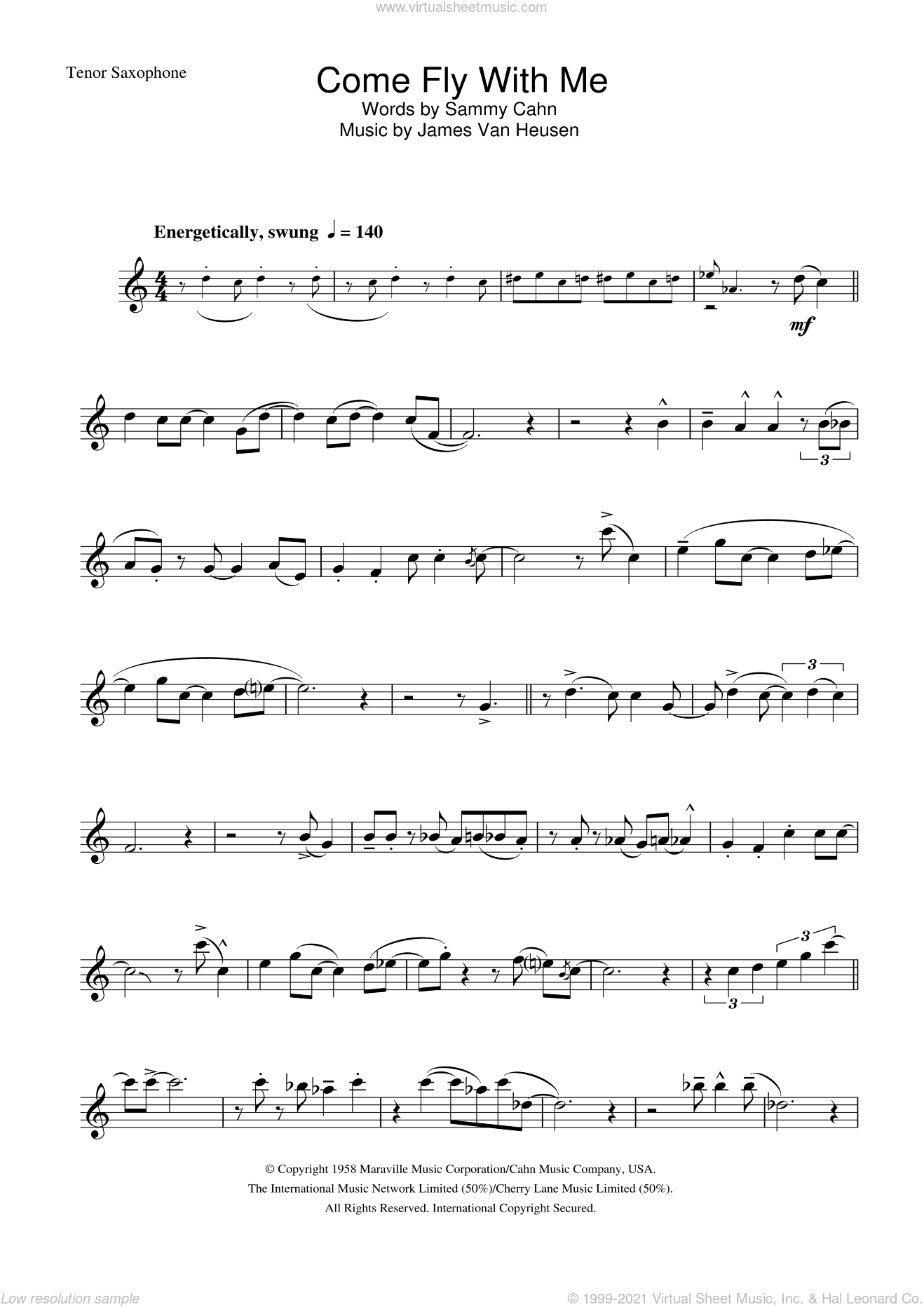 Come Fly With Me sheet music for tenor saxophone solo by Frank Sinatra, Jimmy Van Heusen and Sammy Cahn, intermediate skill level