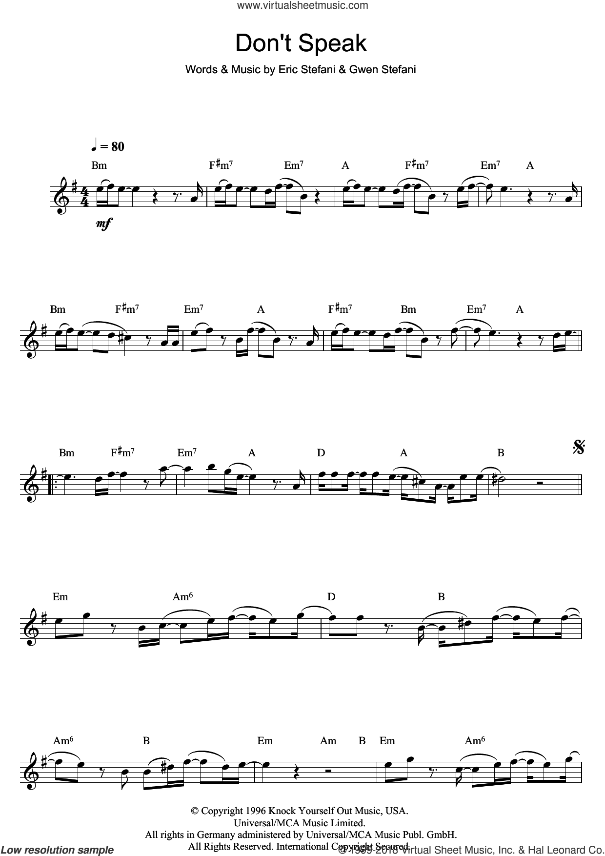 Don't Speak sheet music for flute solo by No Doubt, Eric Stefani and Gwen Stefani, intermediate skill level