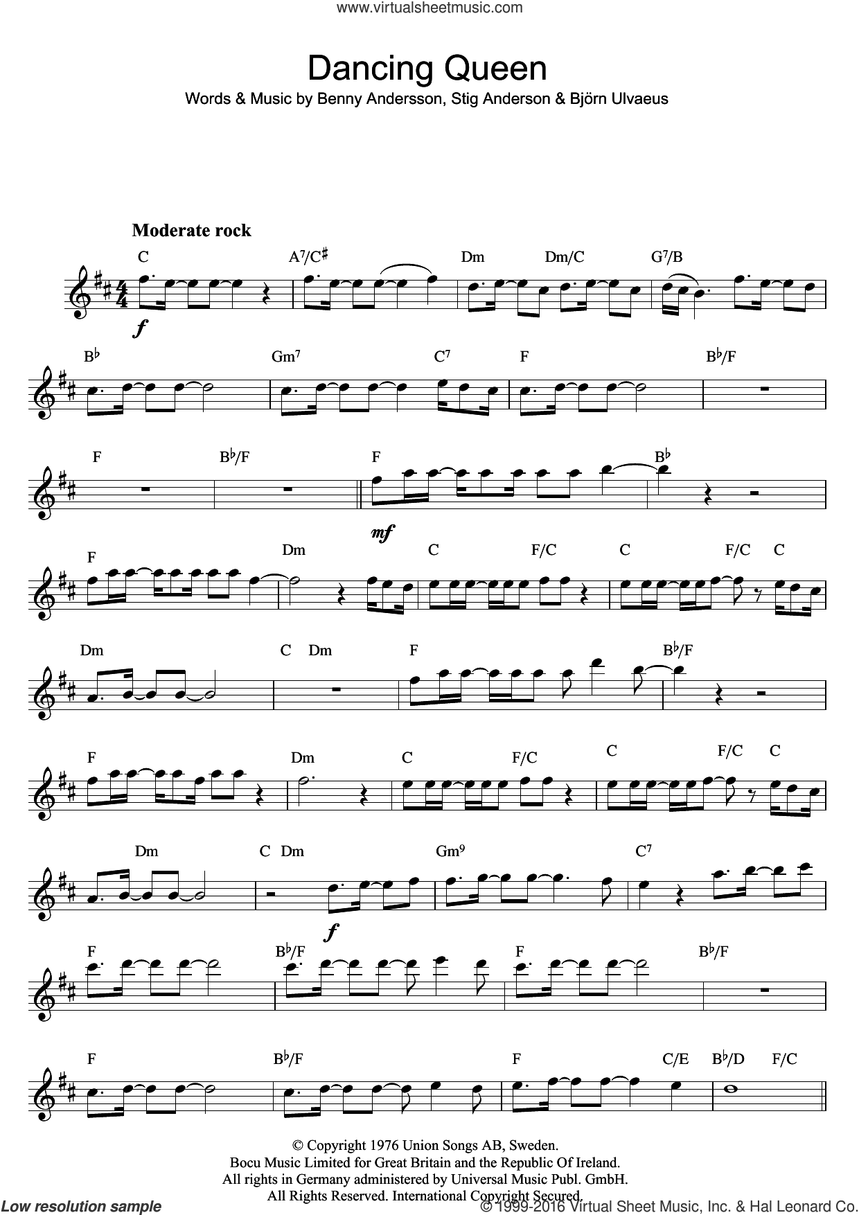 Dancing Queen sheet music for saxophone solo by ABBA, Benny Andersson, Bjorn Ulvaeus and Stig Anderson, intermediate skill level