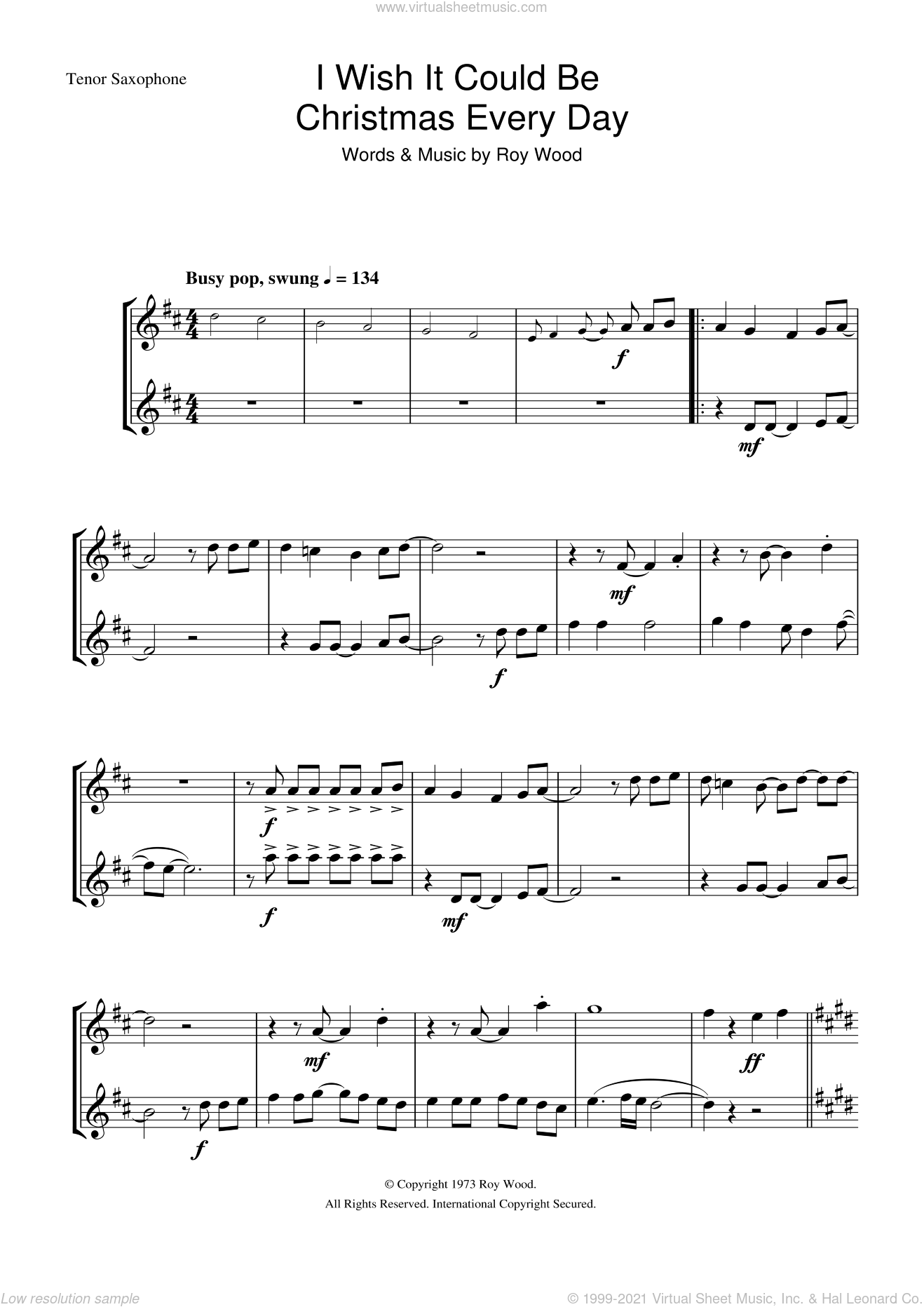 I Wish It Could Be Christmas Every Day sheet music for tenor saxophone solo by Wizzard and Roy Wood, intermediate skill level