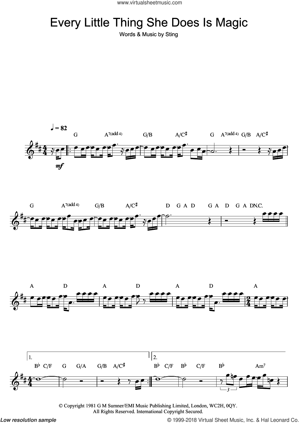 Every Little Thing She Does Is Magic sheet music for flute solo by Sting