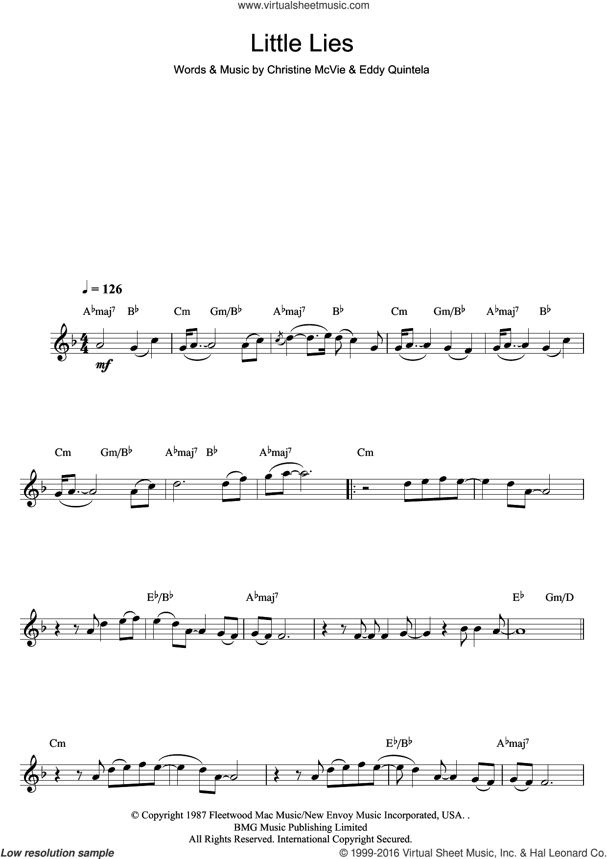 Little Lies sheet music for clarinet solo by Eddy Quintela, Fleetwood Mac and Christine McVie. Score Image Preview.