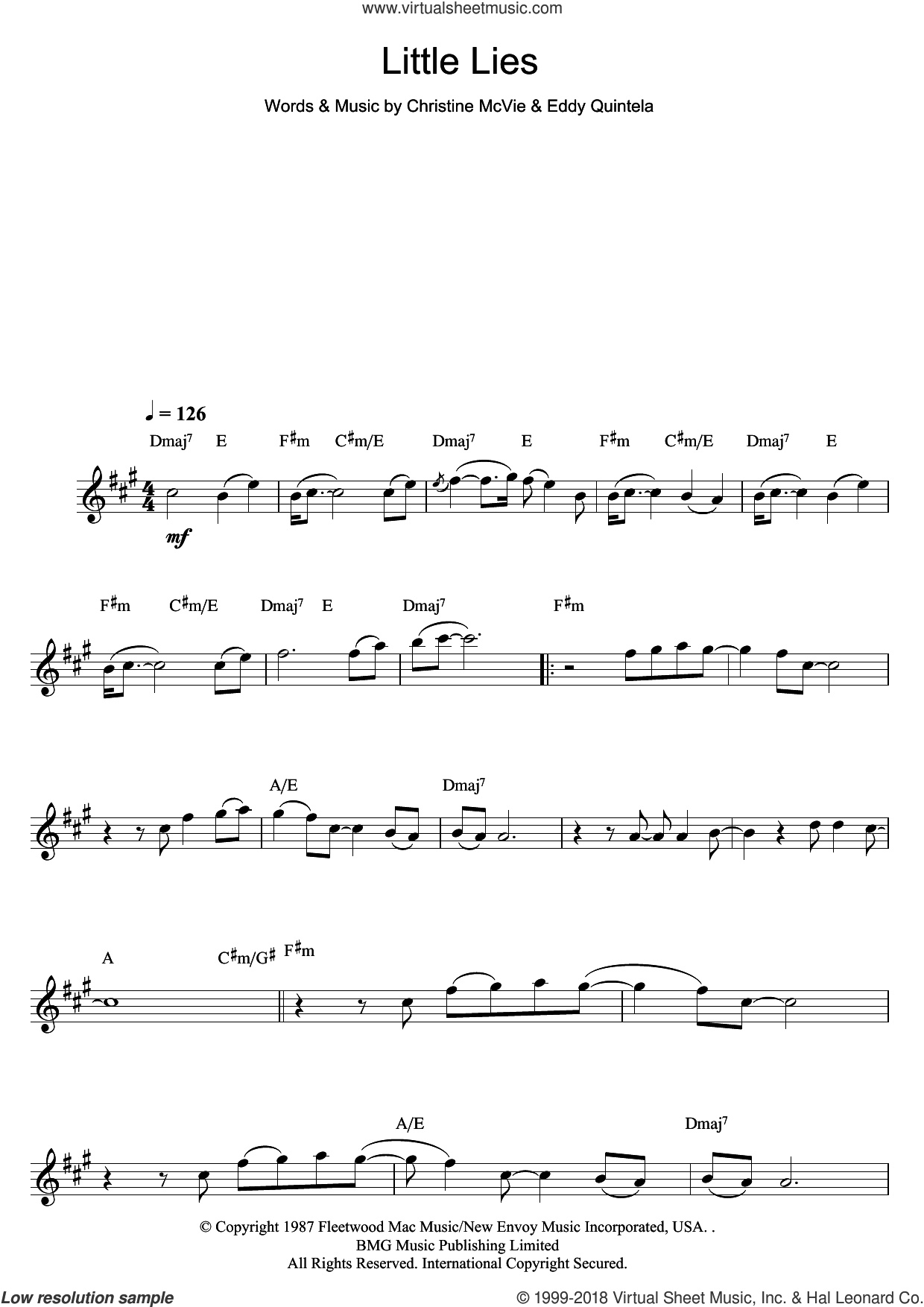 Little Lies sheet music for flute solo by Eddy Quintela, Fleetwood Mac and Christine McVie. Score Image Preview.
