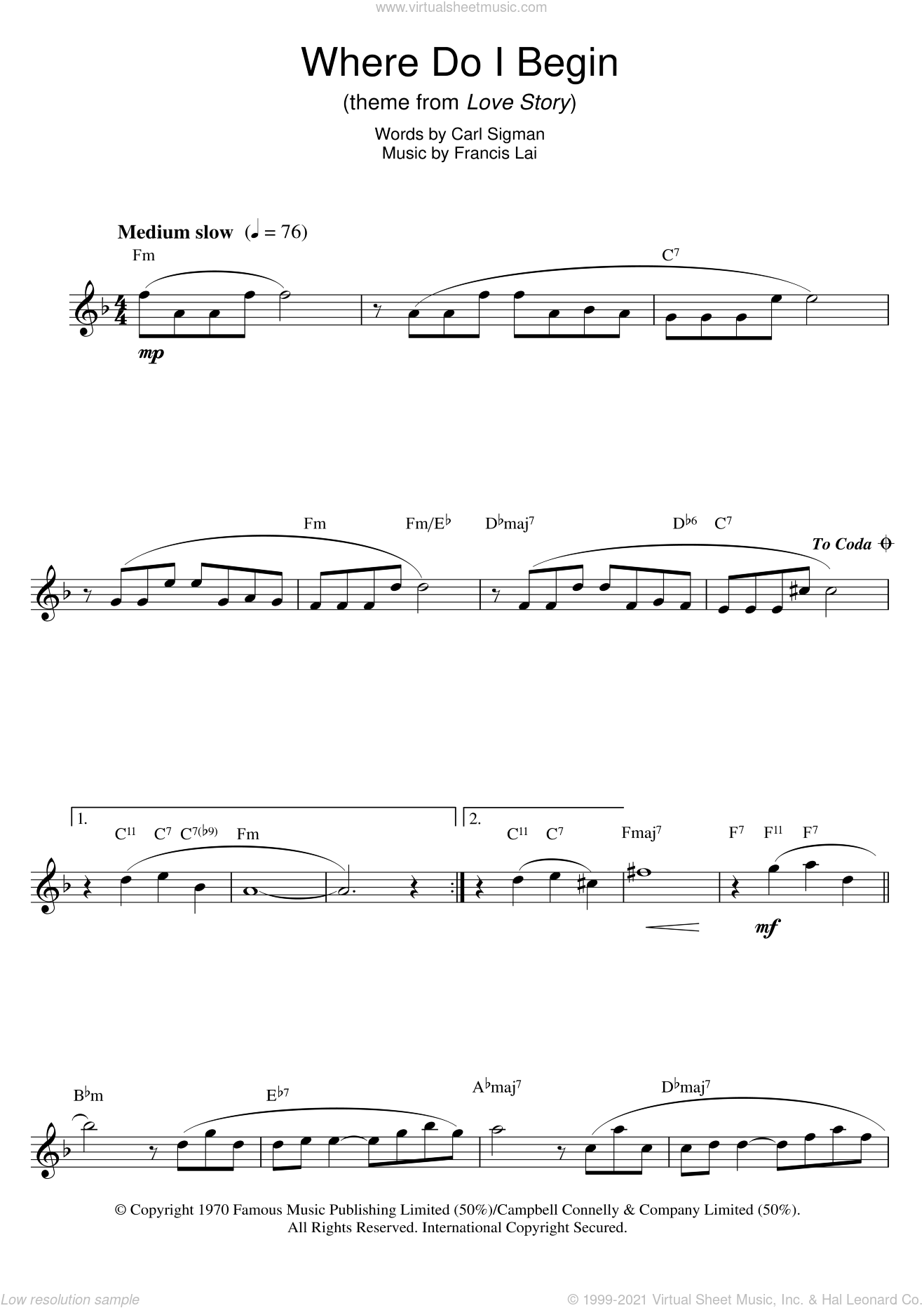 Where Do I Begin (theme from Love Story) sheet music for saxophone solo by Francis Lai, Andy Williams and Carl Sigman. Score Image Preview.