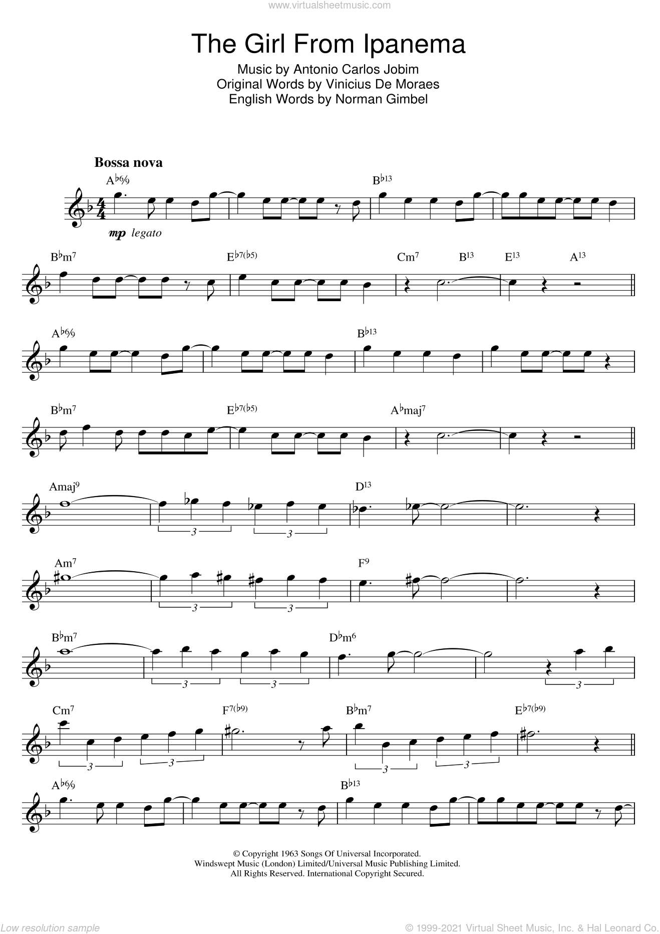 The Girl From Ipanema (Garota De Ipanema) sheet music for saxophone solo by Antonio Carlos Jobim, Norman Gimbel and Vinicius de Moraes, intermediate saxophone. Score Image Preview.