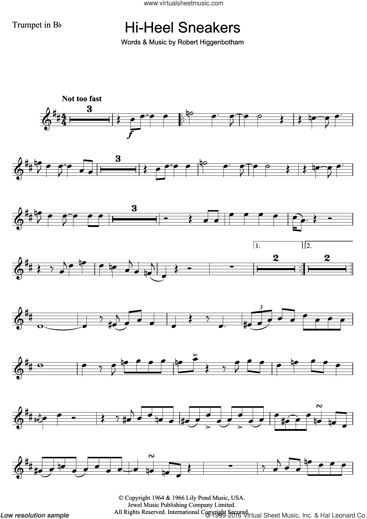 Hi-Heel Sneakers sheet music for trumpet solo by Tommy Tucker and Robert Higginbotham, intermediate skill level