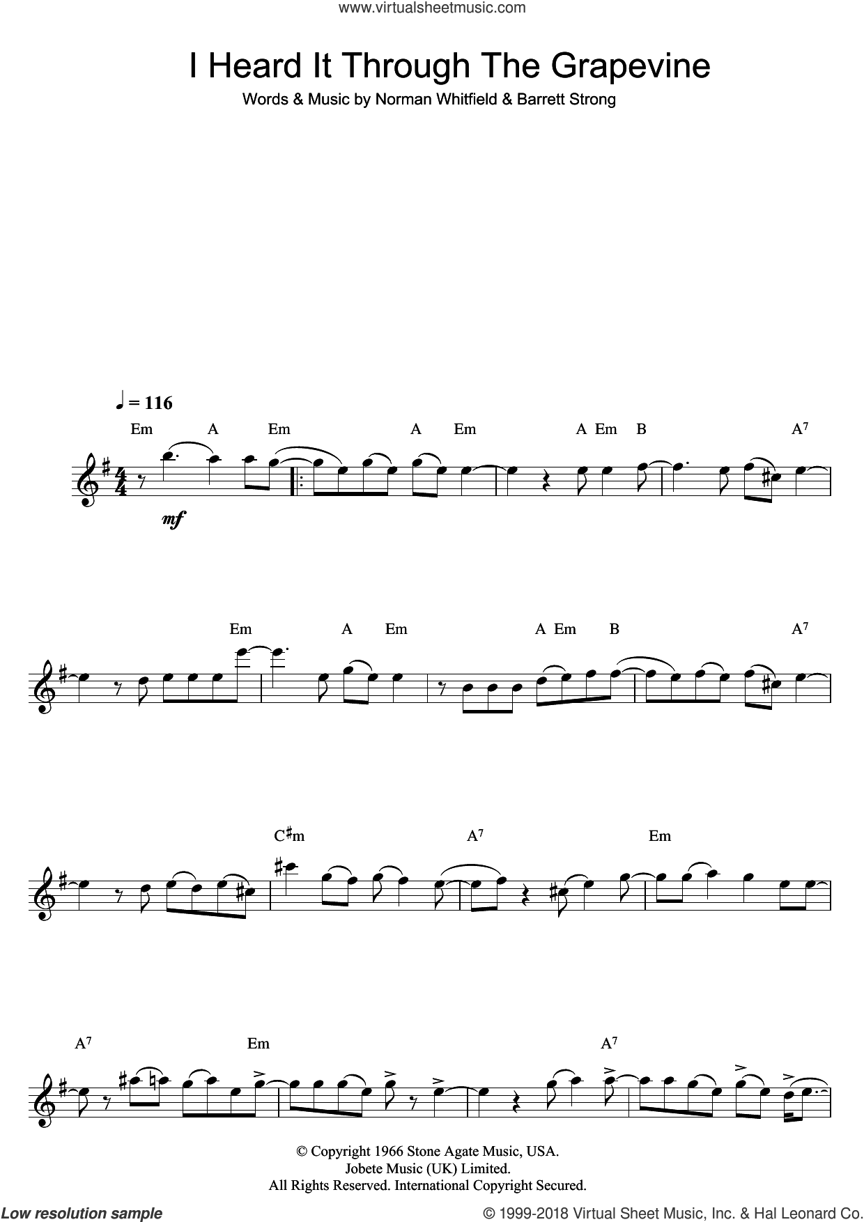 I Heard It Through The Grapevine sheet music for flute solo by Marvin Gaye, Barrett Strong and Norman Whitfield, intermediate. Score Image Preview.