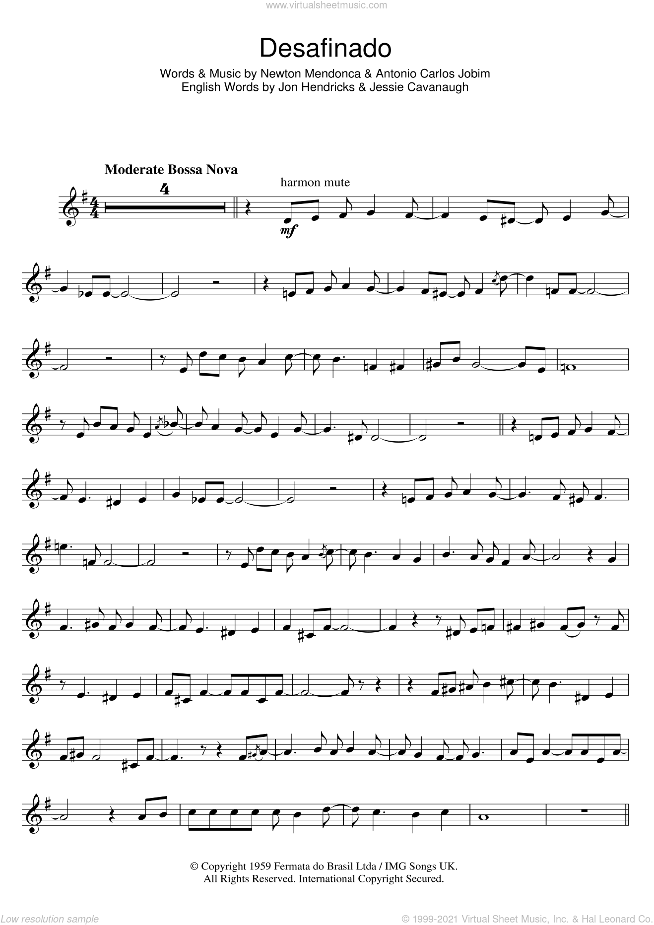 Desafinado (Slightly Out Of Tune) sheet music for trumpet solo by Newton Mendonca, Antonio Carlos Jobim and Jon Hendricks. Score Image Preview.