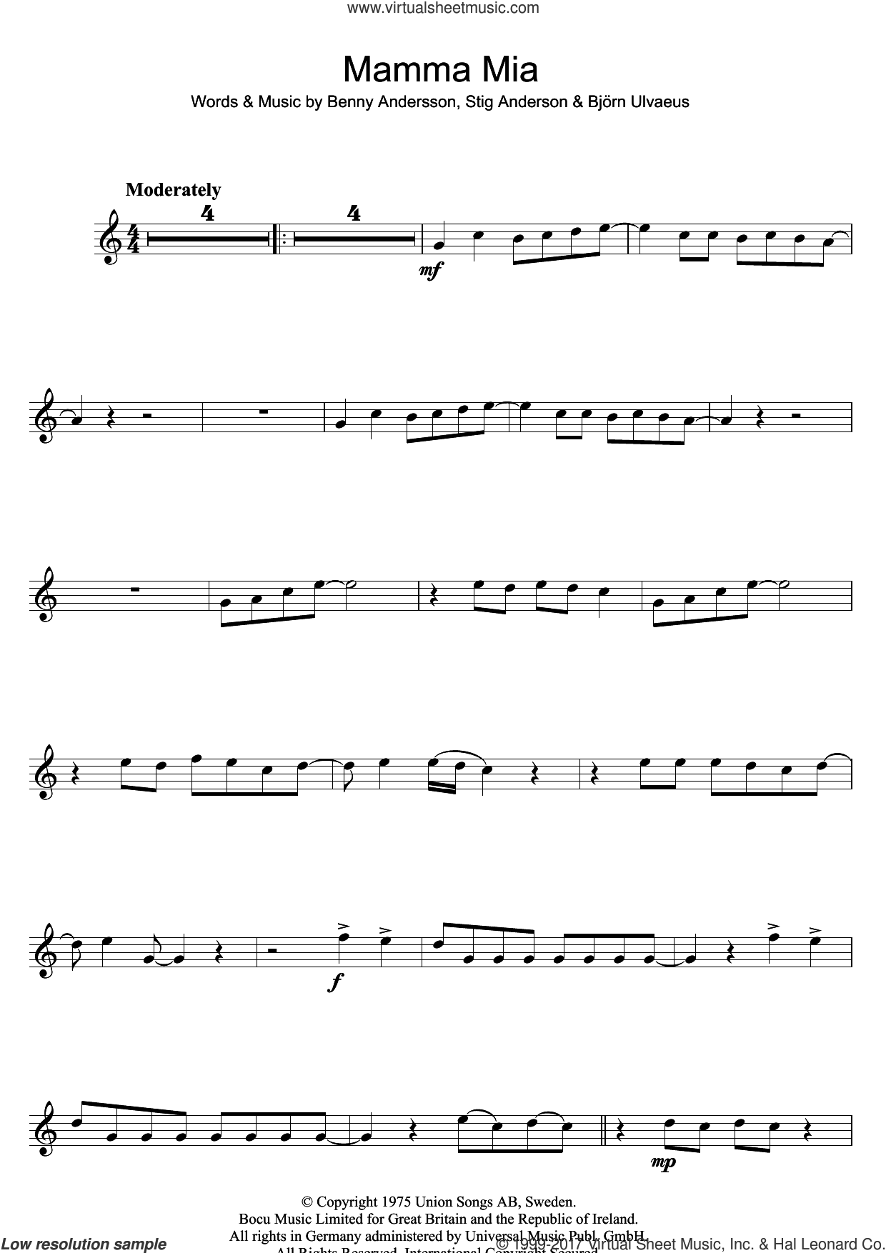 Mamma Mia sheet music for flute solo by ABBA, Benny Andersson, Bjorn Ulvaeus and Stig Anderson, intermediate. Score Image Preview.