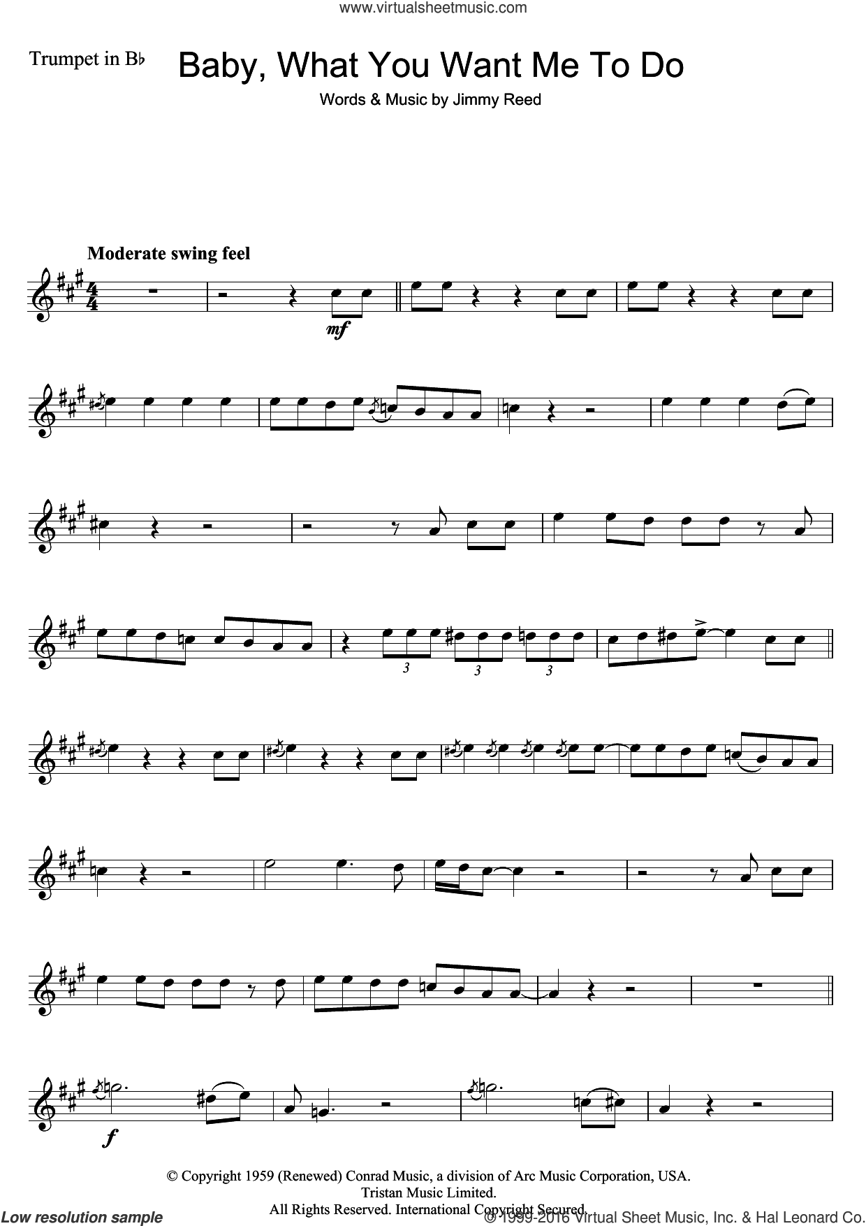 Baby, What You Want Me To Do sheet music for trumpet solo by Etta James and Jimmy Reed, intermediate skill level