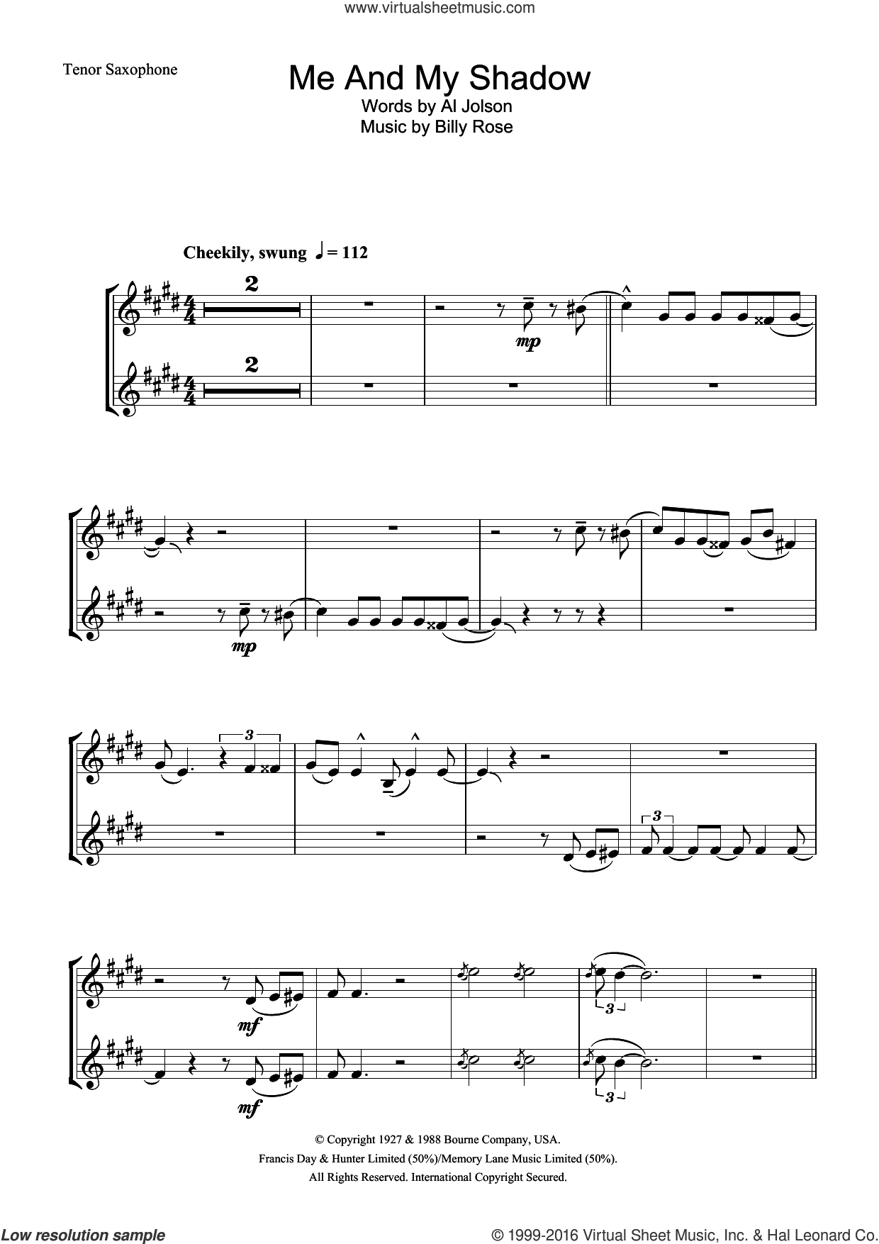 Me And My Shadow sheet music for tenor saxophone solo by Frank Sinatra, Al Jolson and Billy Rose, intermediate skill level