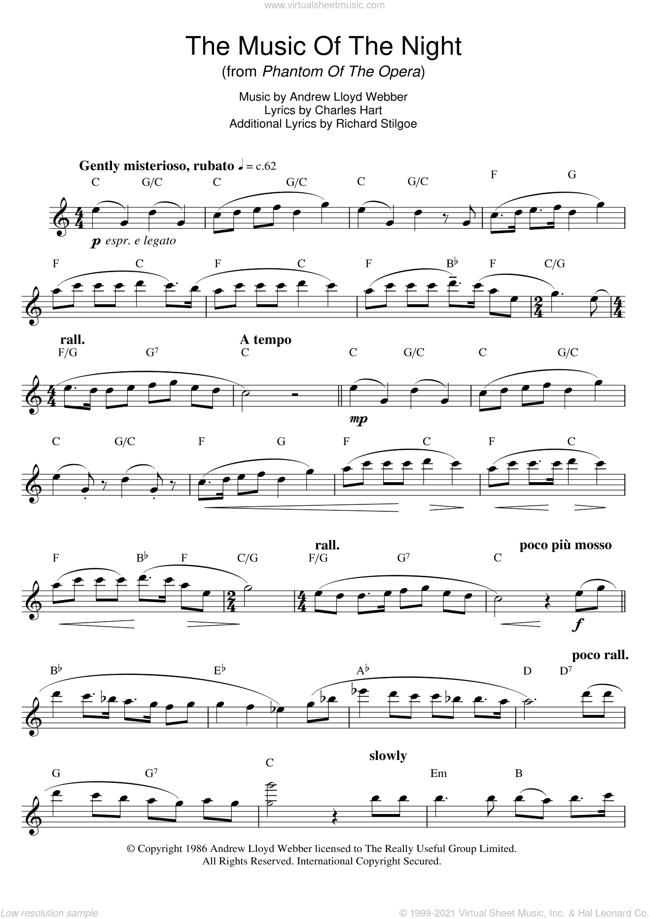 The Music Of The Night (from The Phantom Of The Opera) sheet music for flute solo by Michael Crawford, Andrew Lloyd Webber, Charles Hart and Richard Stilgoe, intermediate skill level