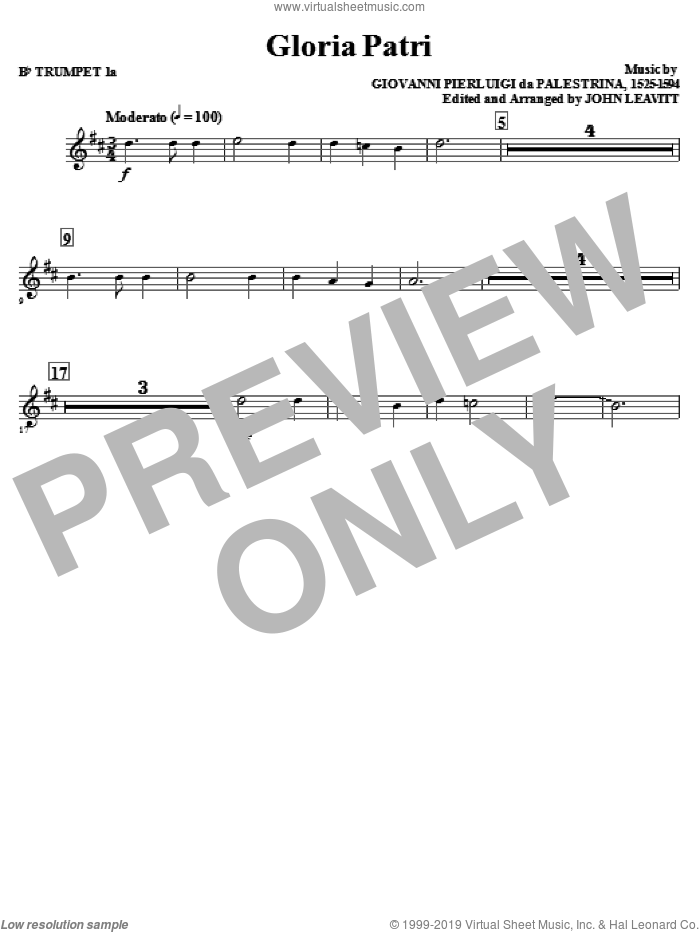 Gloria Patri (complete set of parts) sheet music for orchestra/band (Brass) by Giovanni Perluigi Da Palestrina and John Leavitt, intermediate. Score Image Preview.