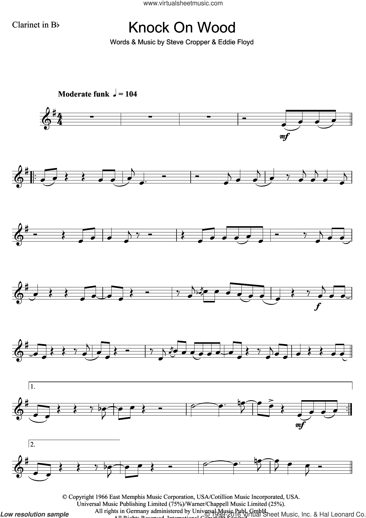 Knock On Wood sheet music for clarinet solo by Steve Cropper and Eddie Floyd. Score Image Preview.