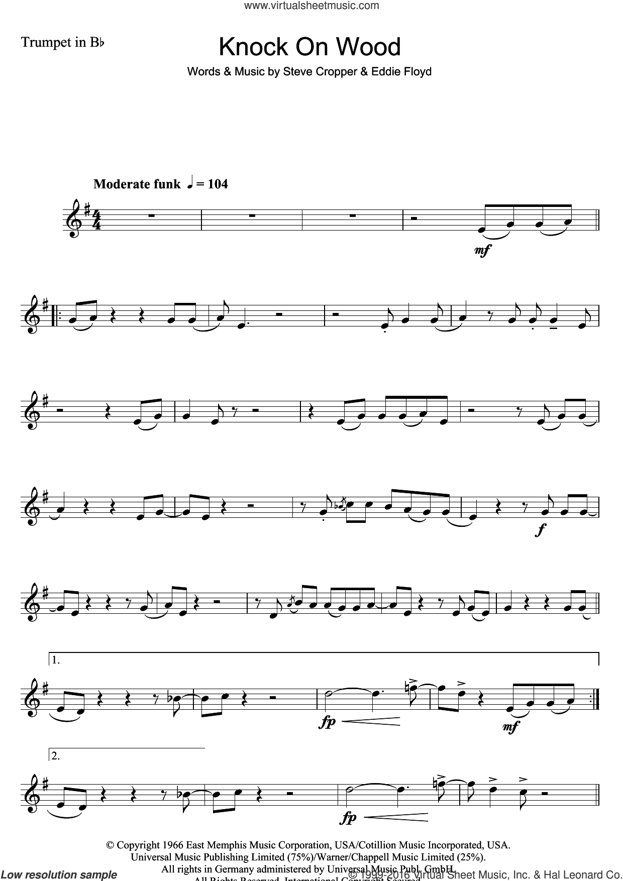Knock On Wood sheet music for trumpet solo by Steve Cropper and Eddie Floyd. Score Image Preview.