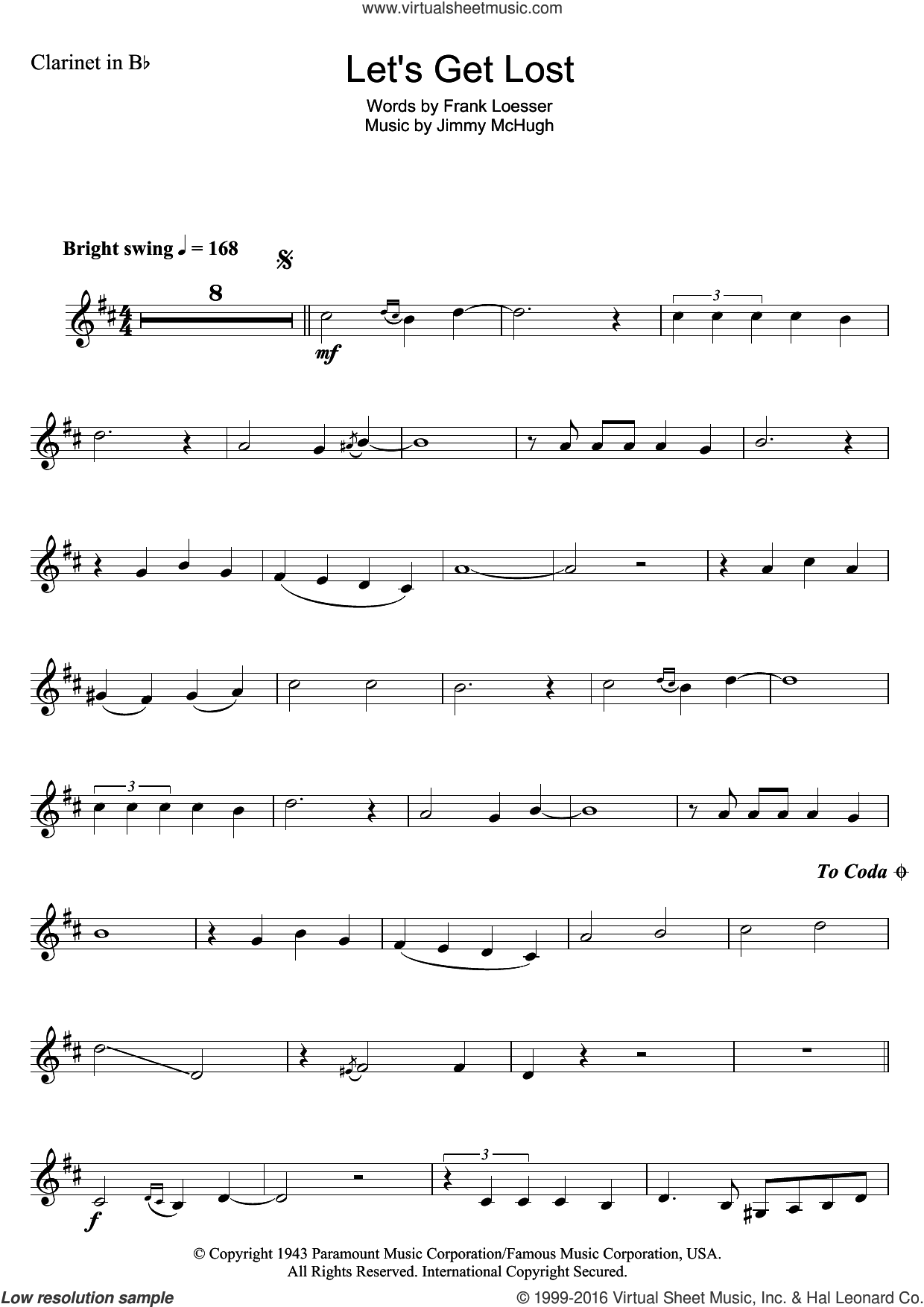 Let's Get Lost sheet music for clarinet solo by Chet Baker, Frank Loesser and Jimmy McHugh, intermediate skill level