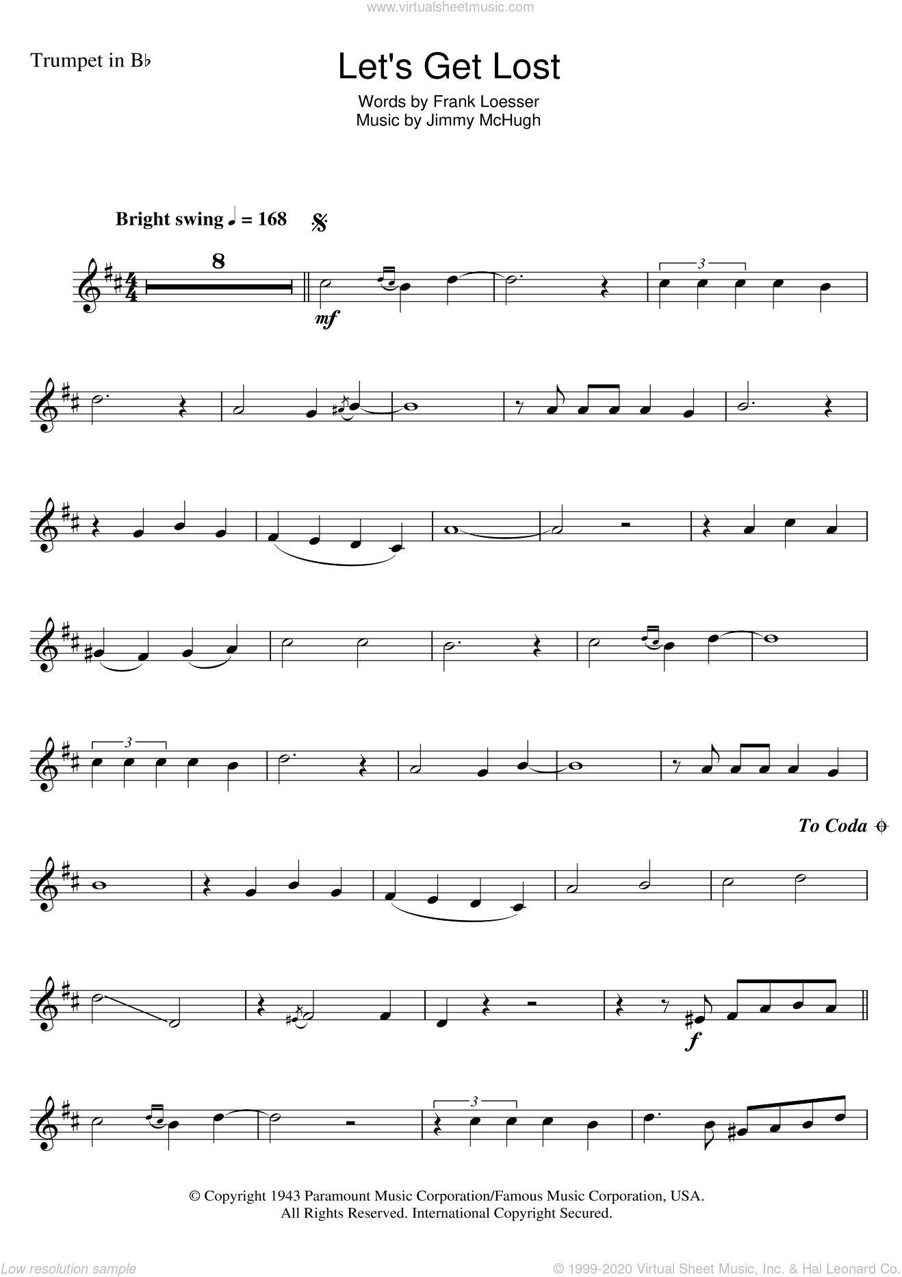 Let's Get Lost sheet music for trumpet solo by Jimmy McHugh, Chet Baker and Frank Loesser. Score Image Preview.
