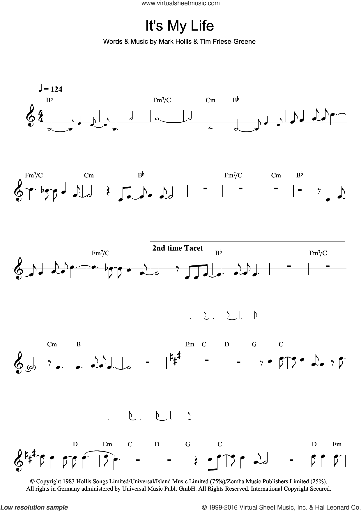 It's My Life sheet music for clarinet solo by Talk Talk. Score Image Preview.