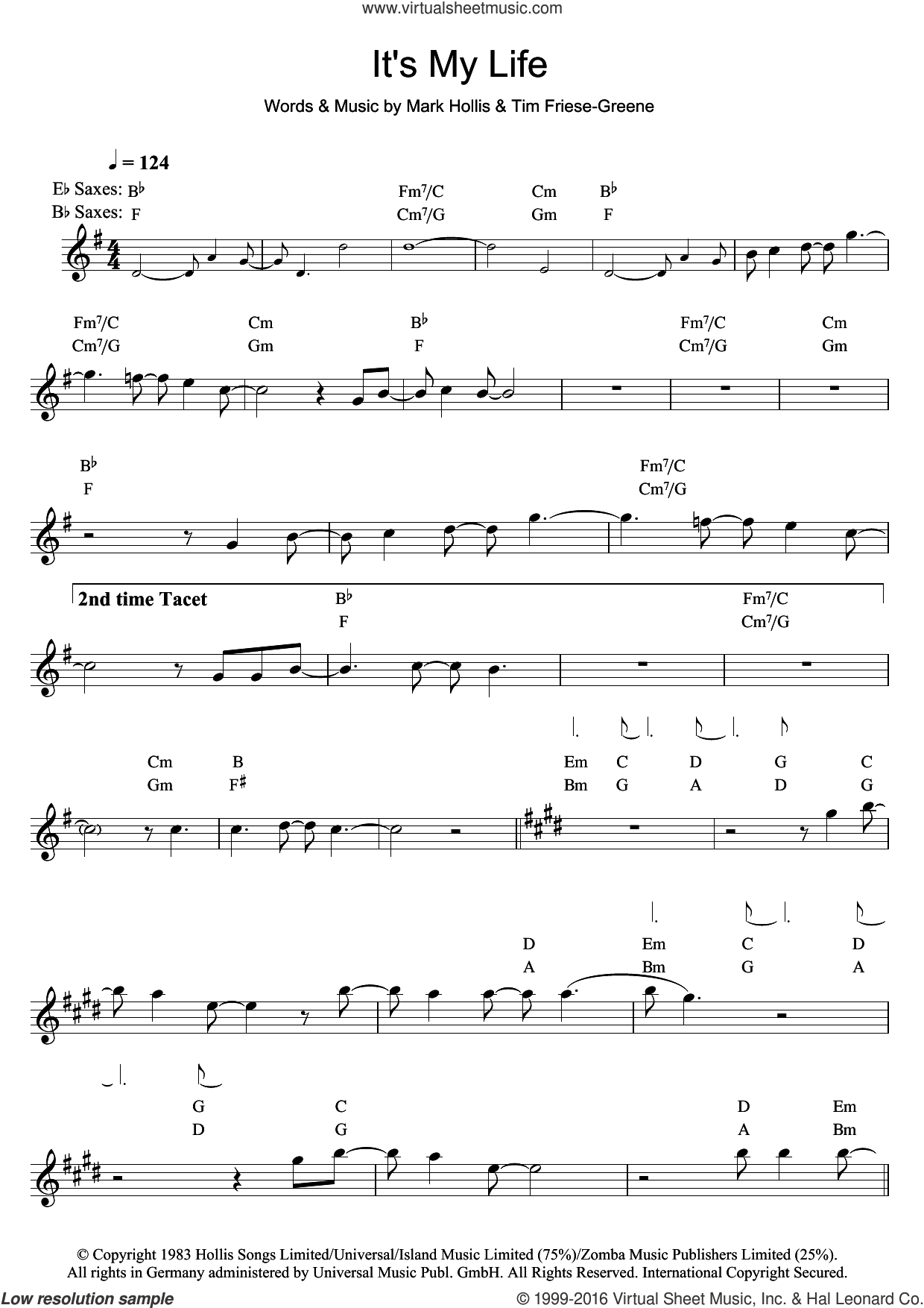 It's My Life sheet music for saxophone solo by Talk Talk, Mark Hollis and Tim Friese-Greene, intermediate skill level