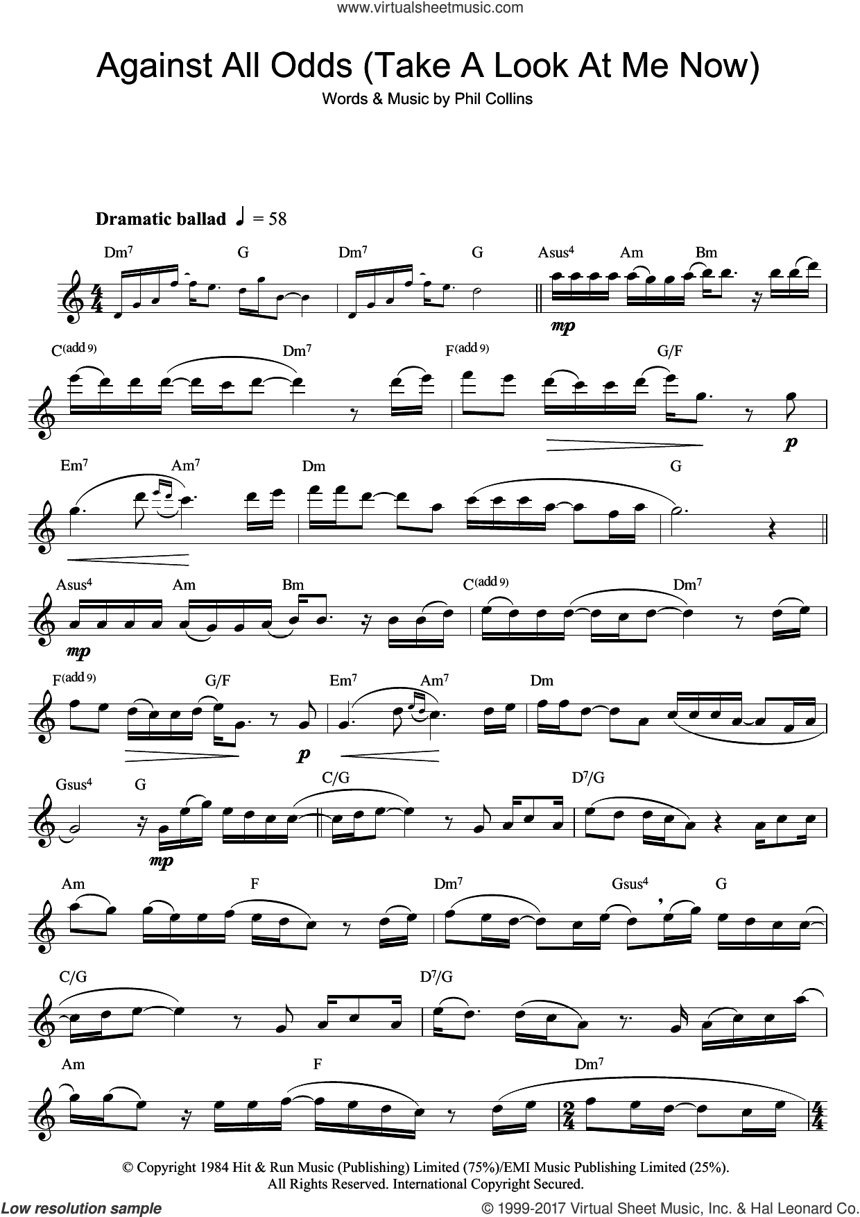 Against All Odds (Take A Look At Me Now) sheet music for flute solo by Phil Collins, intermediate skill level