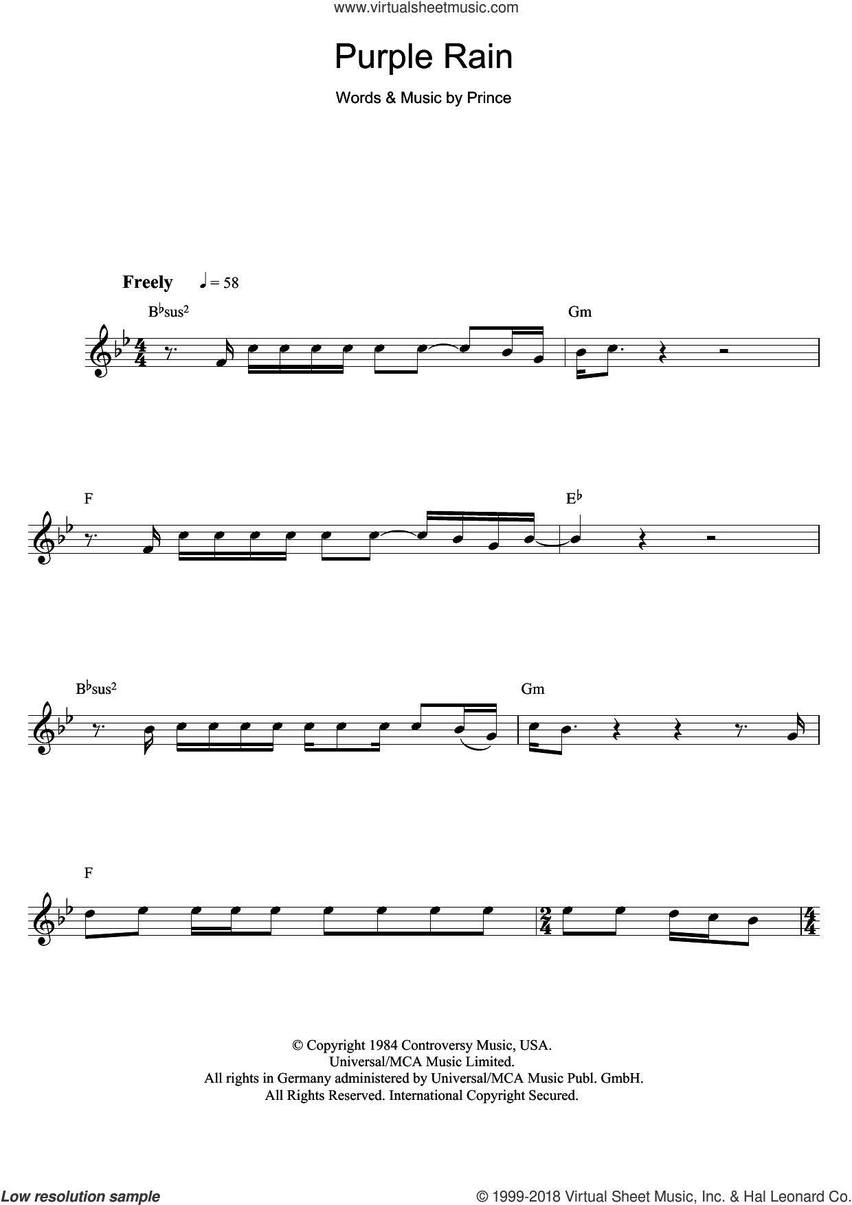 Purple Rain sheet music for flute solo by Prince, intermediate skill level