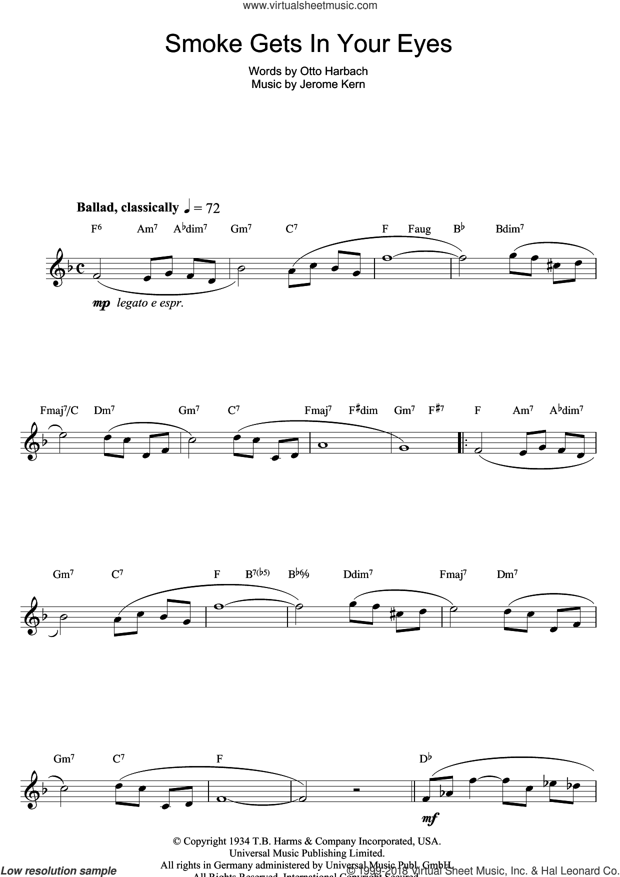 Smoke Gets In Your Eyes sheet music for flute solo by The Platters, Jerome Kern and Otto Harbach, intermediate skill level