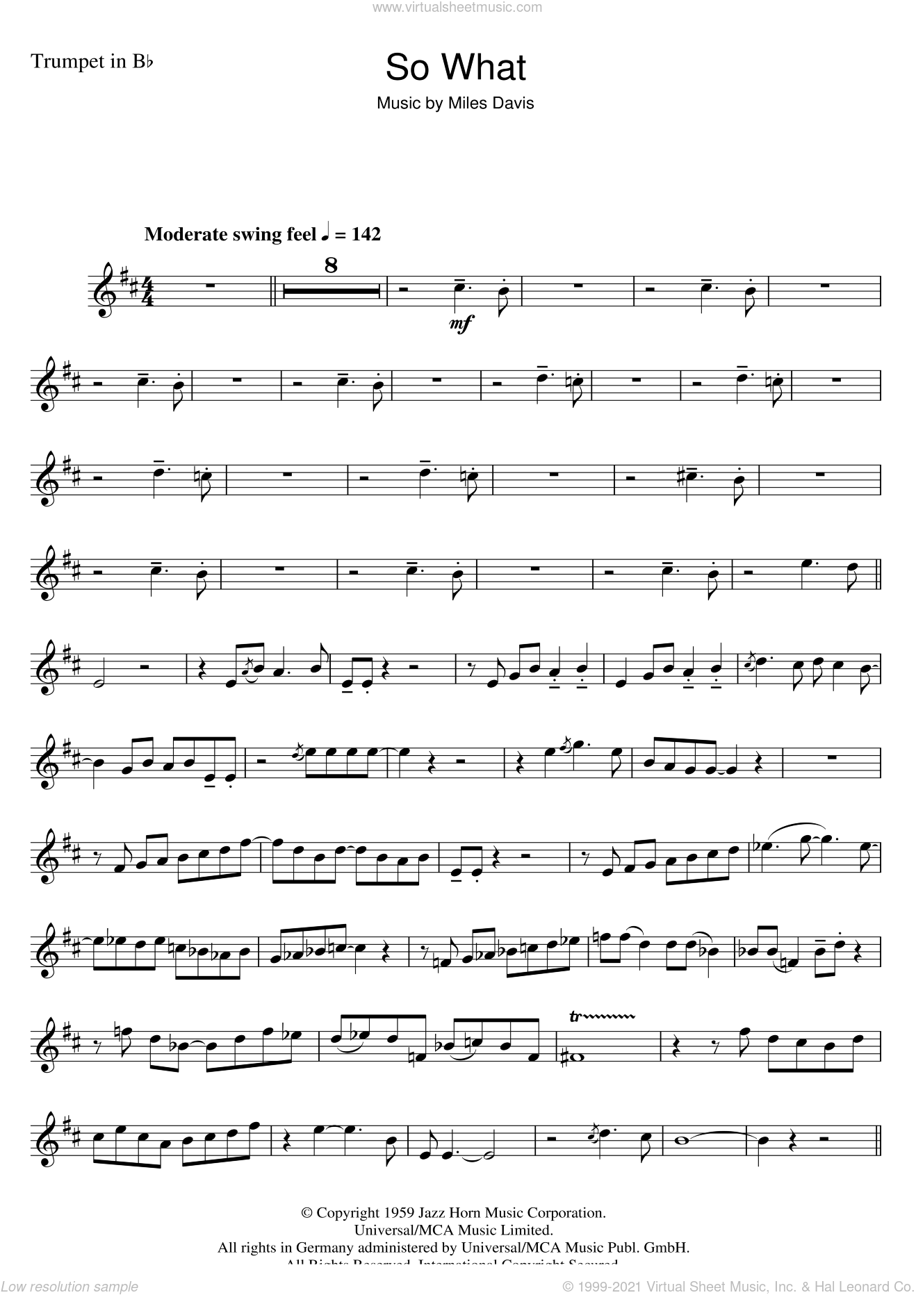 So What sheet music for trumpet solo by Miles Davis, intermediate. Score Image Preview.