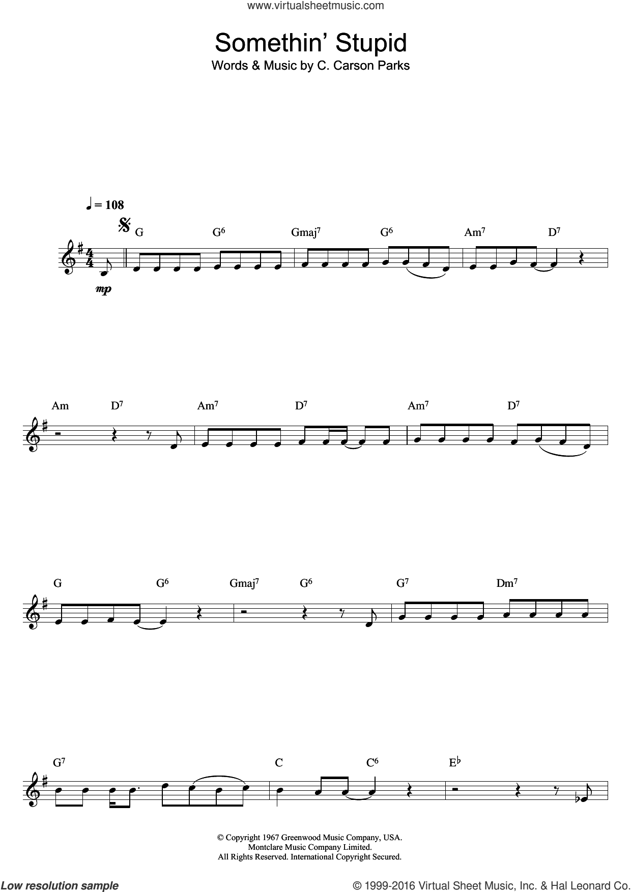 Somethin' Stupid sheet music for clarinet solo by Frank Sinatra and C. Carson Parks, intermediate skill level