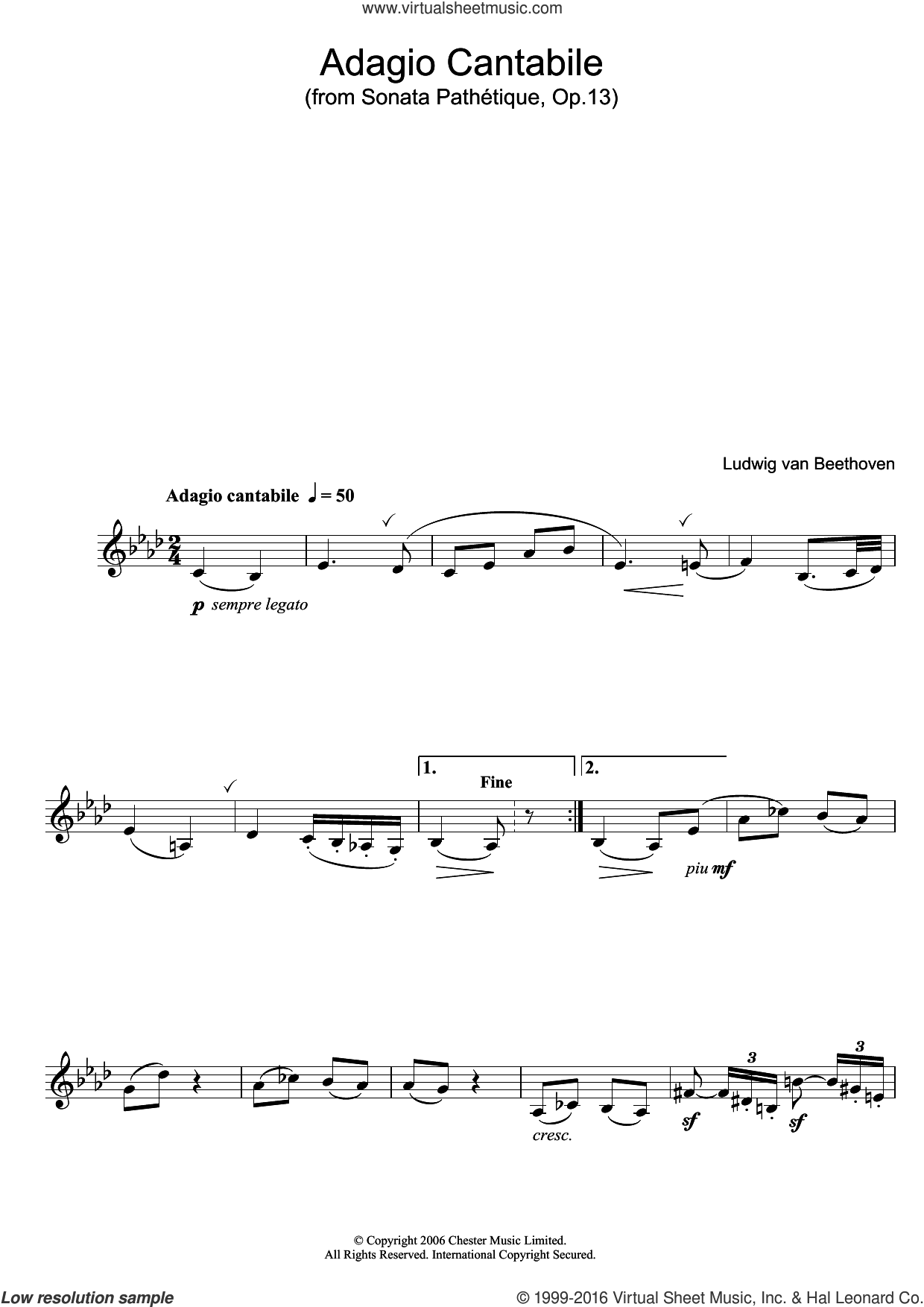 Adagio Cantabile from Sonate Pathetique Op.13 sheet music for clarinet solo by Ludwig van Beethoven, classical score, intermediate. Score Image Preview.