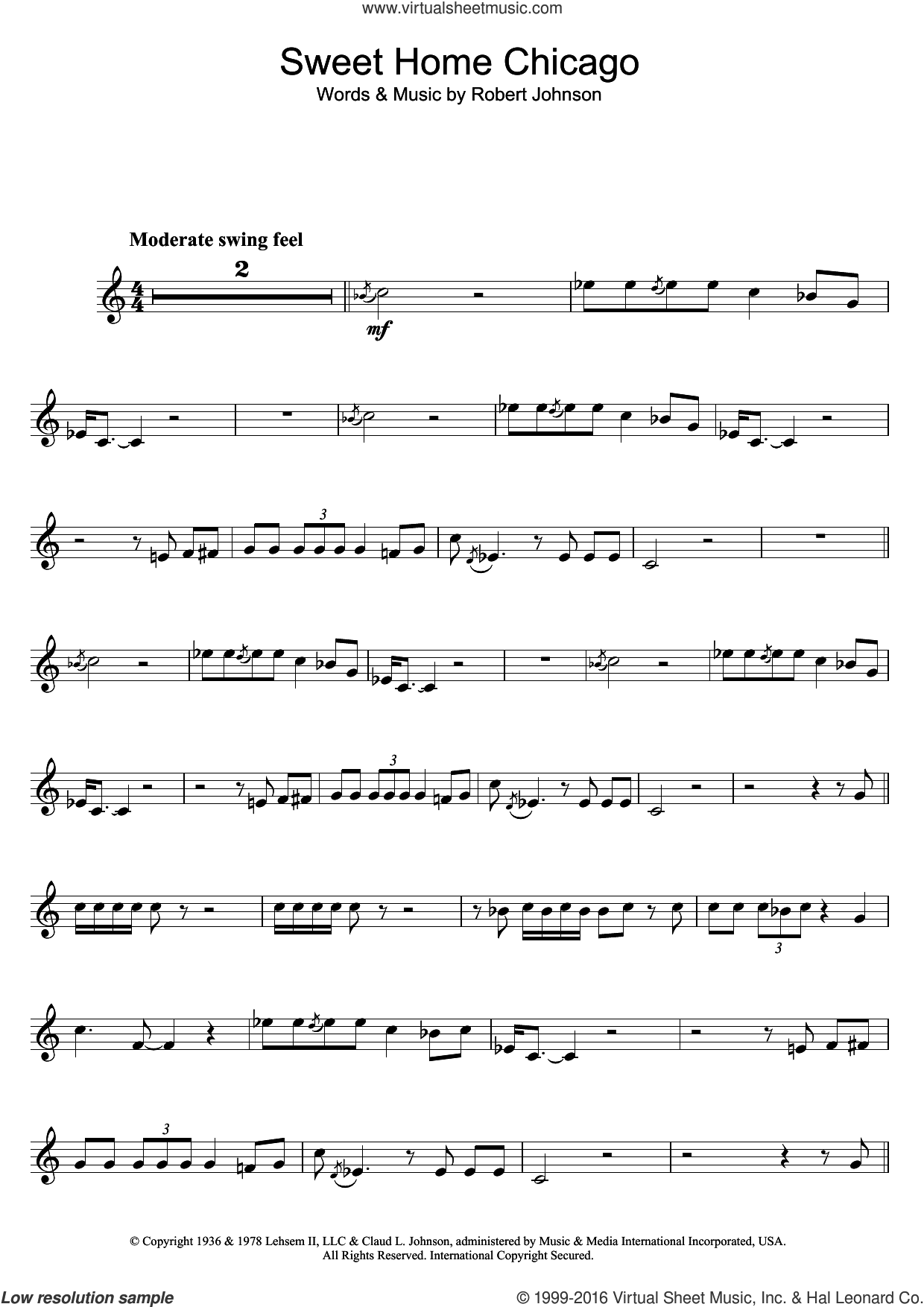 Sweet Home Chicago sheet music for clarinet solo by Robert Johnson, intermediate