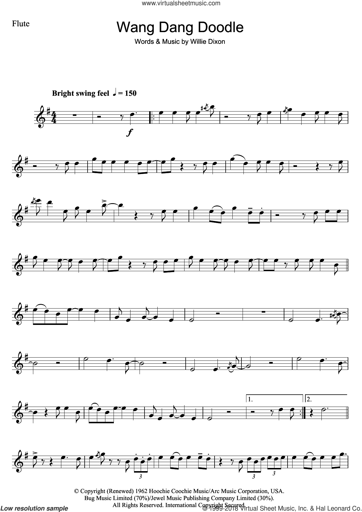 Wang Dang Doodle sheet music for flute solo by Koko Taylor and Willie Dixon. Score Image Preview.
