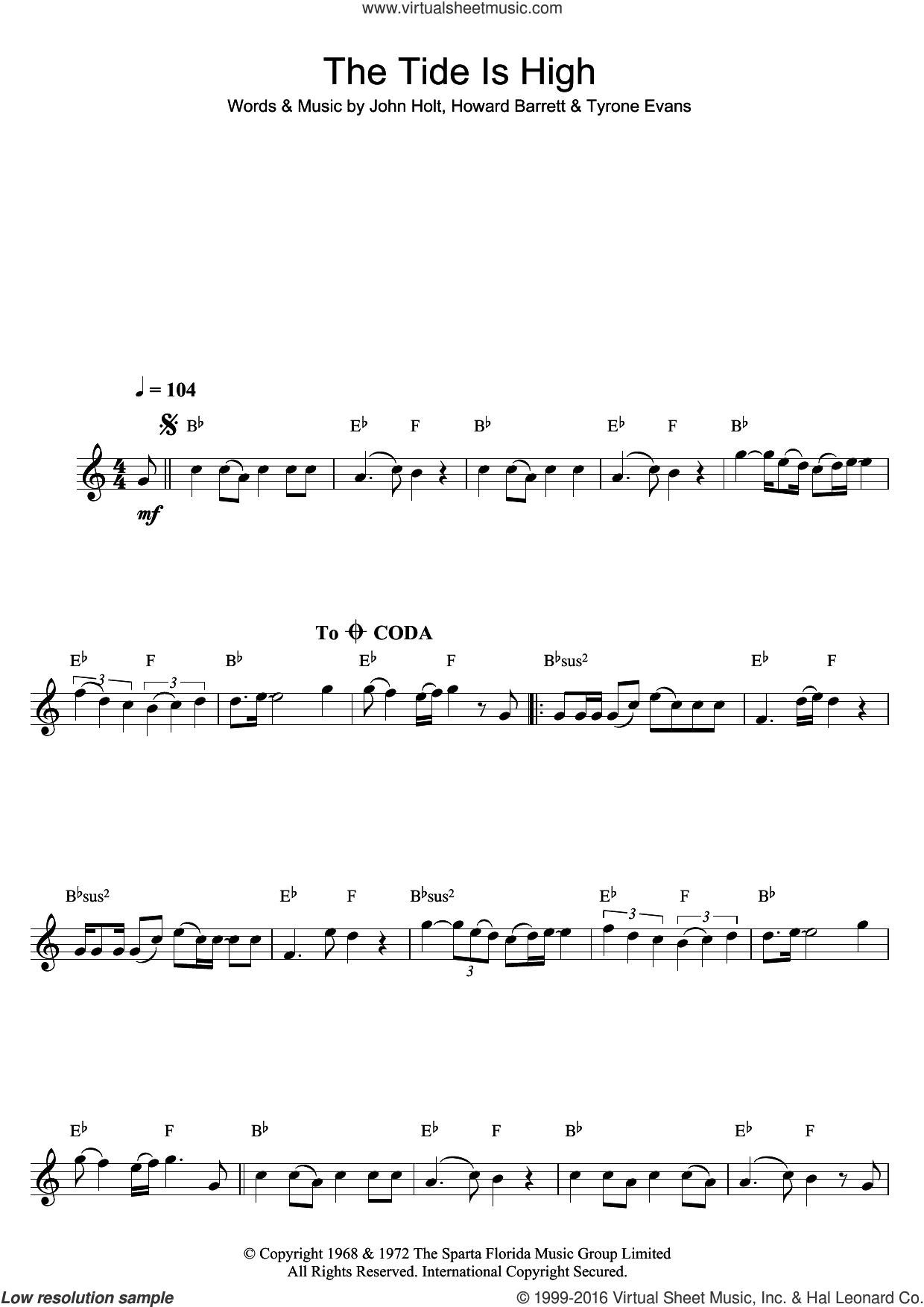 The Tide Is High sheet music for clarinet solo by Blondie and John Holt, intermediate clarinet. Score Image Preview.