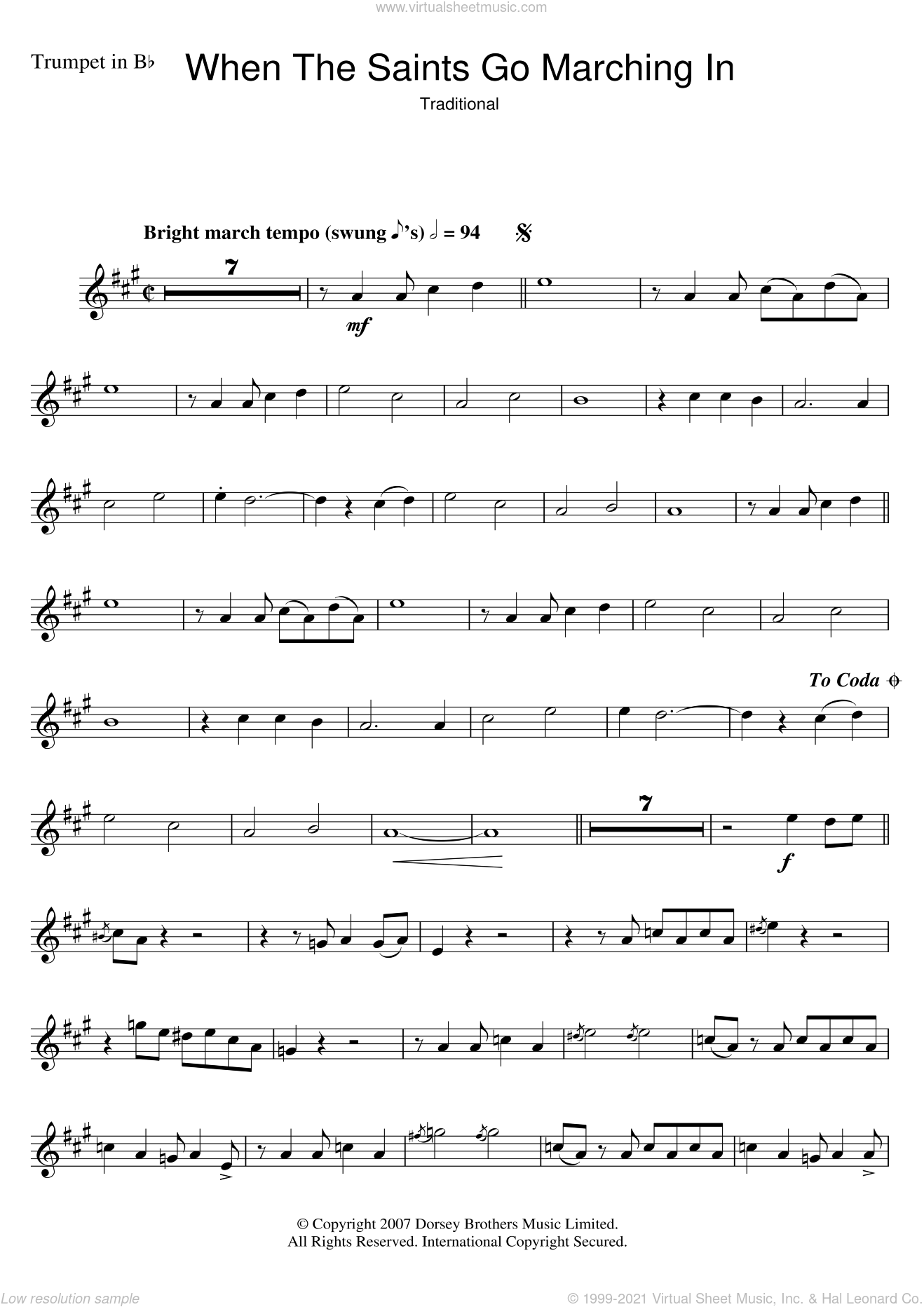 When The Saints Go Marching In sheet music for trumpet solo by Louis Armstrong and Miscellaneous, intermediate skill level