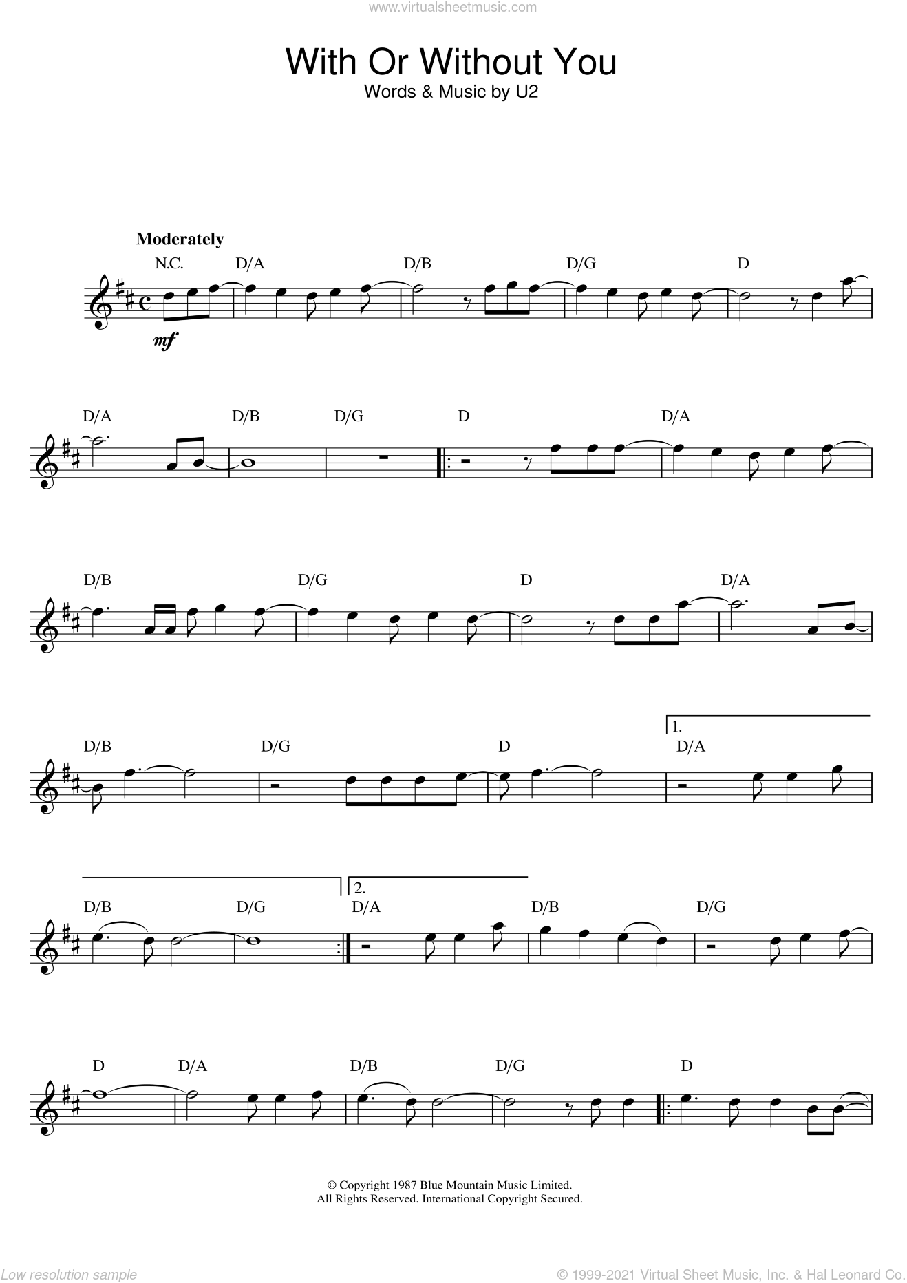 With Or Without You sheet music for flute solo by U2, intermediate. Score Image Preview.