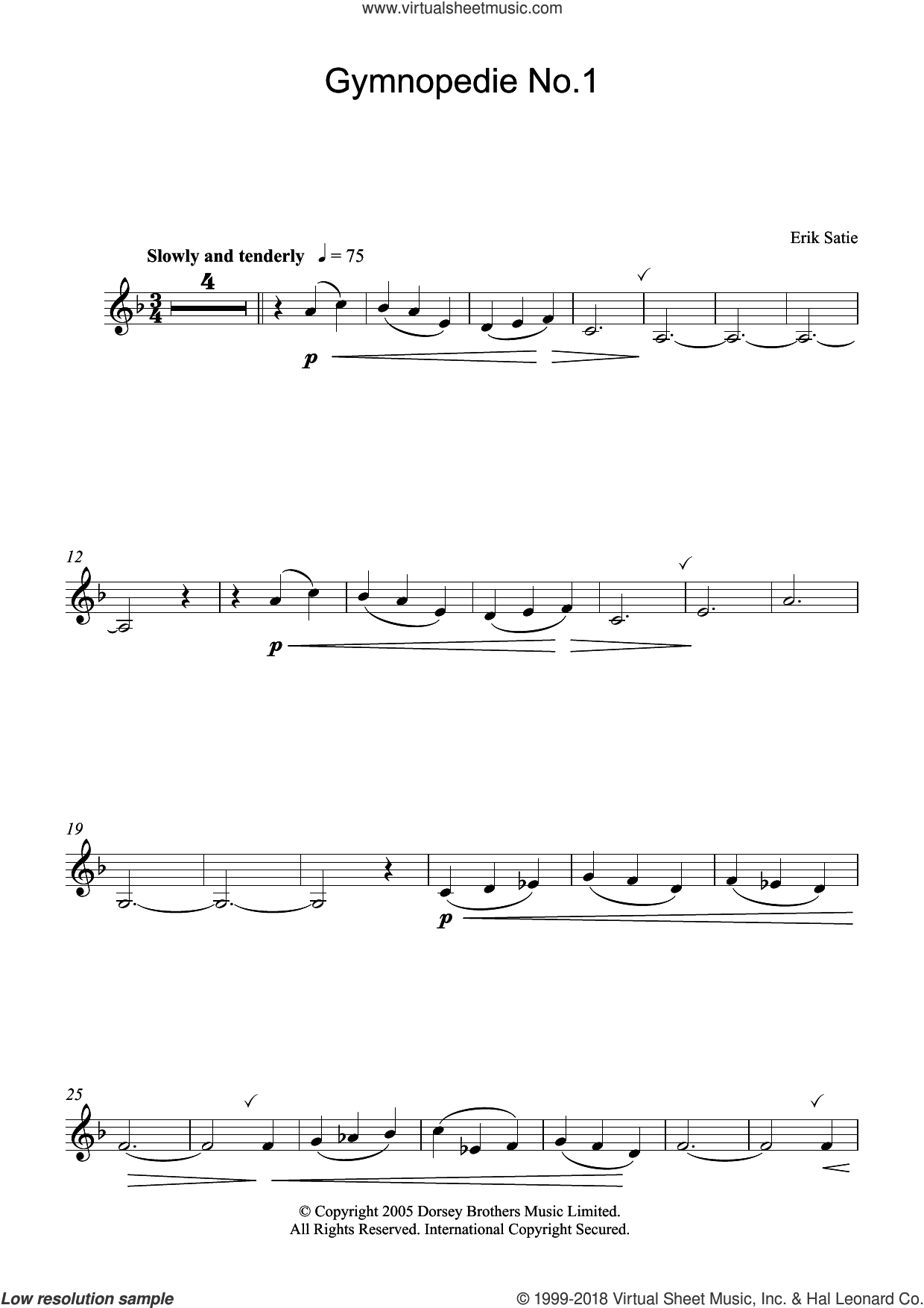 Gymnopedie No. 1 sheet music for clarinet solo by Erik Satie, classical score, intermediate skill level