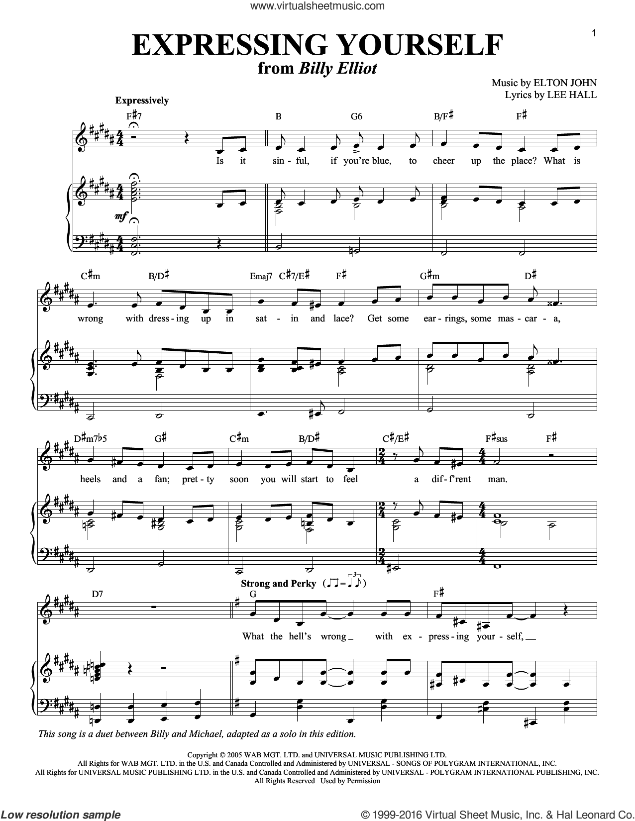 Expressing Yourself sheet music for voice and piano by Elton John, intermediate voice. Score Image Preview.