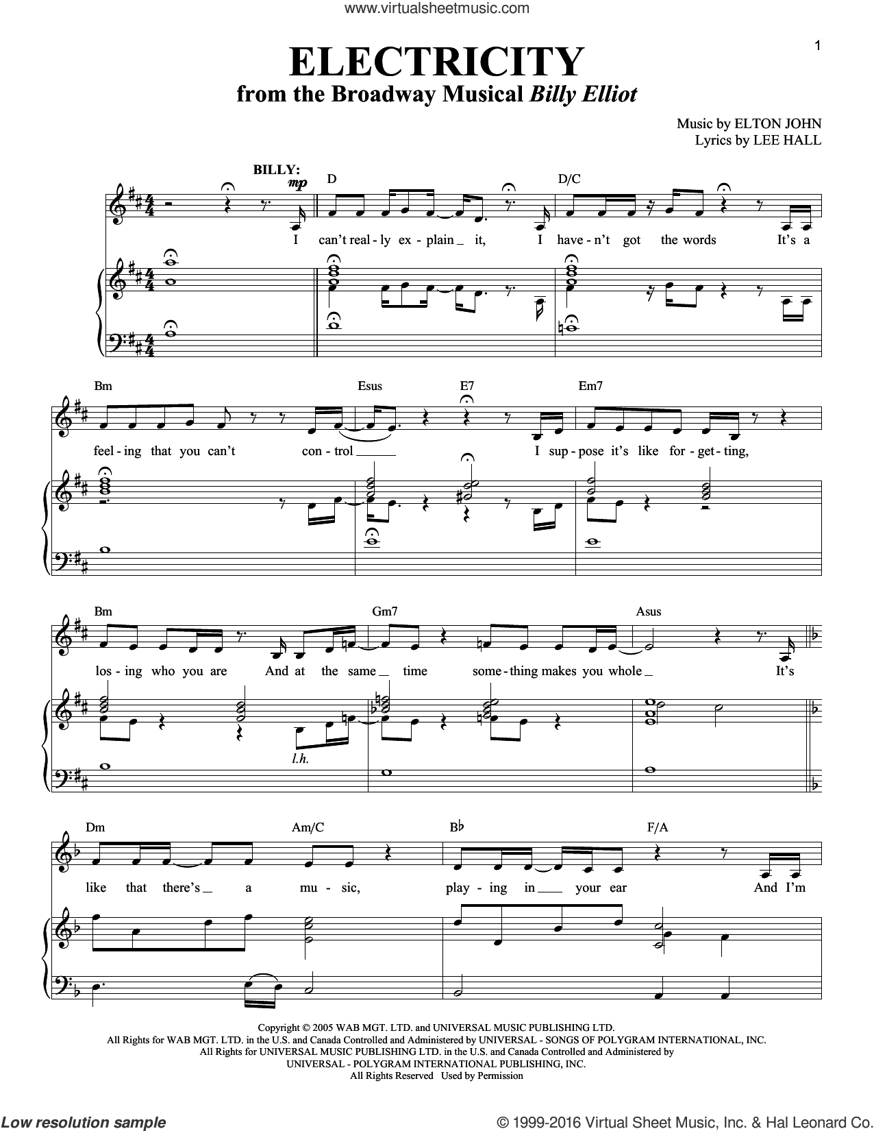 Electricity sheet music for voice and piano by Elton John and Lee Hall, intermediate