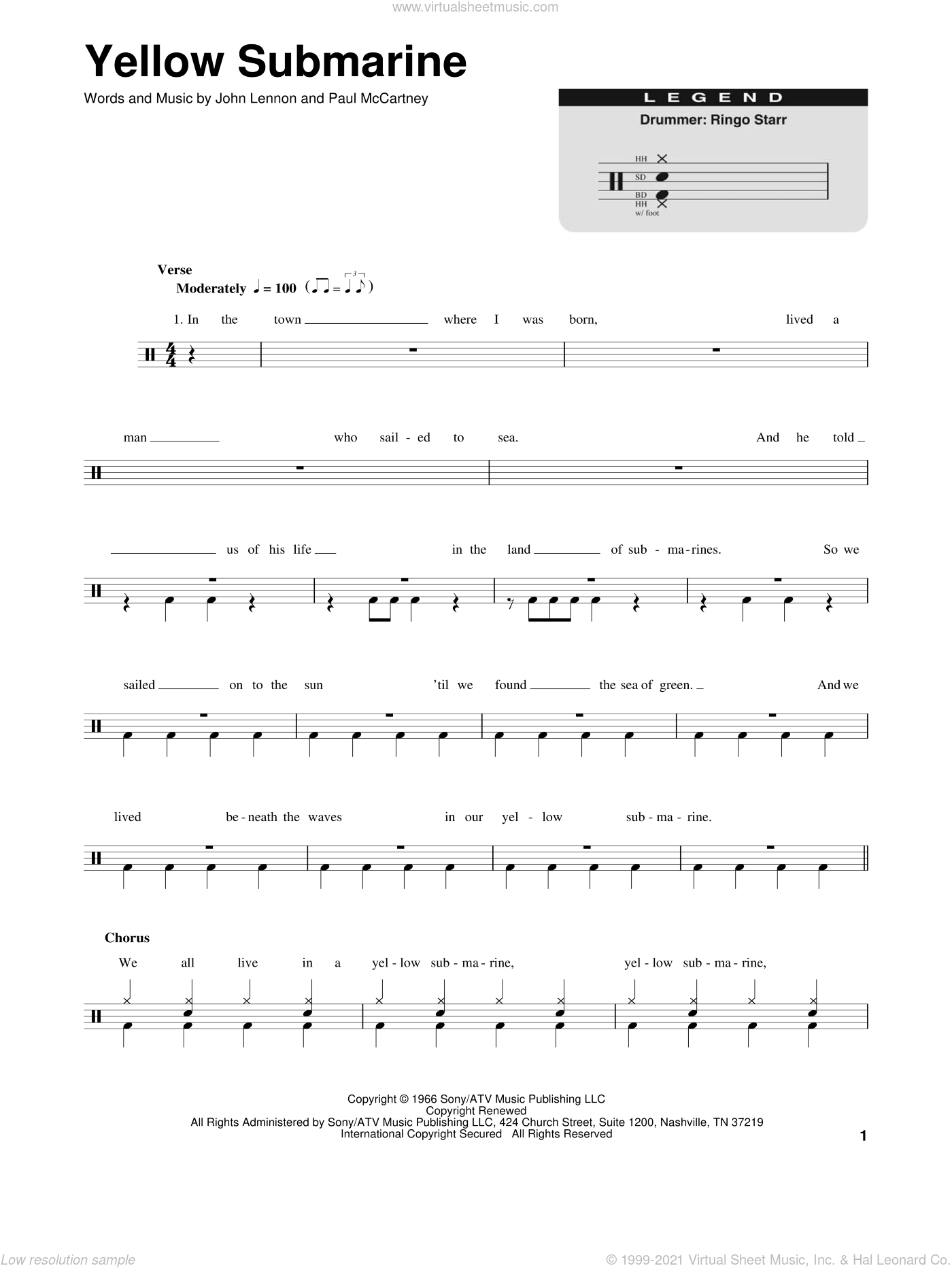 Yellow Submarine sheet music for drums by Paul McCartney, The Beatles and John Lennon. Score Image Preview.