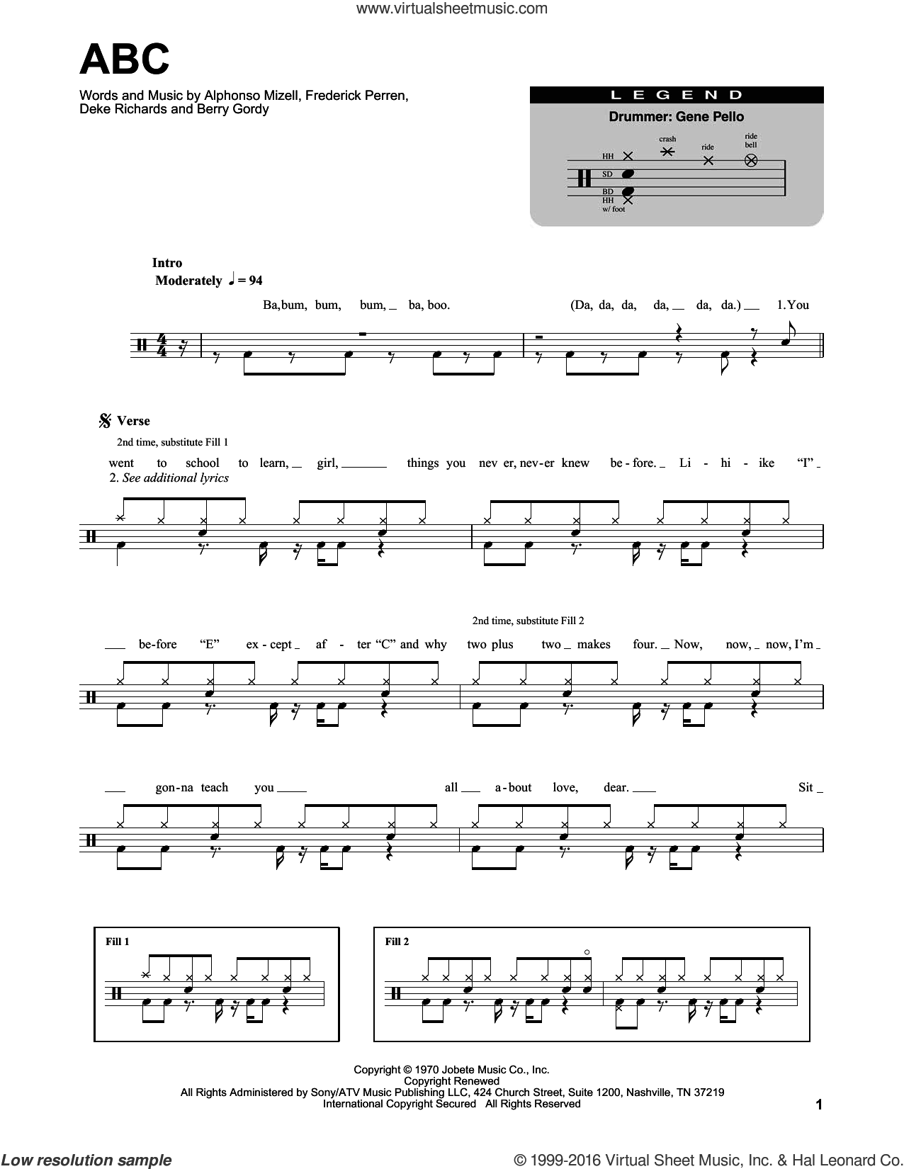ABC sheet music for drums by Frederick Perren, The Jackson 5, Alphonso Mizell and Berry Gordy. Score Image Preview.